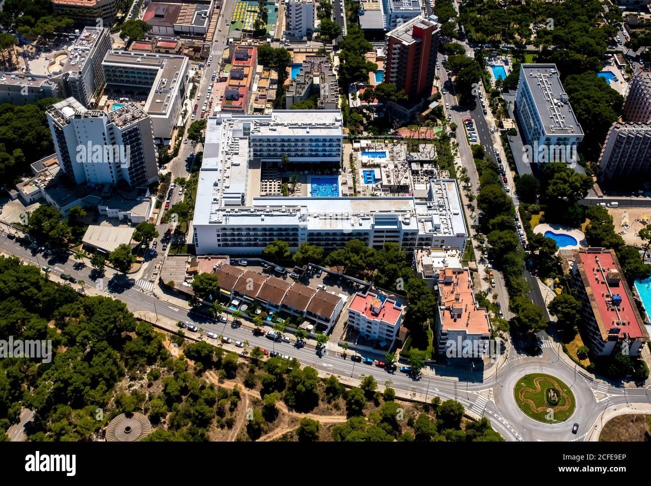 Luftbild, 3-Sterne-Hotel, Hotel Riu Playa Park in der Nähe von Arenal Strand mit Balneario 5, Balneario 6, Balneario 5, S'arenal, Arenal, Ballermann, Mallorca, Stockfoto