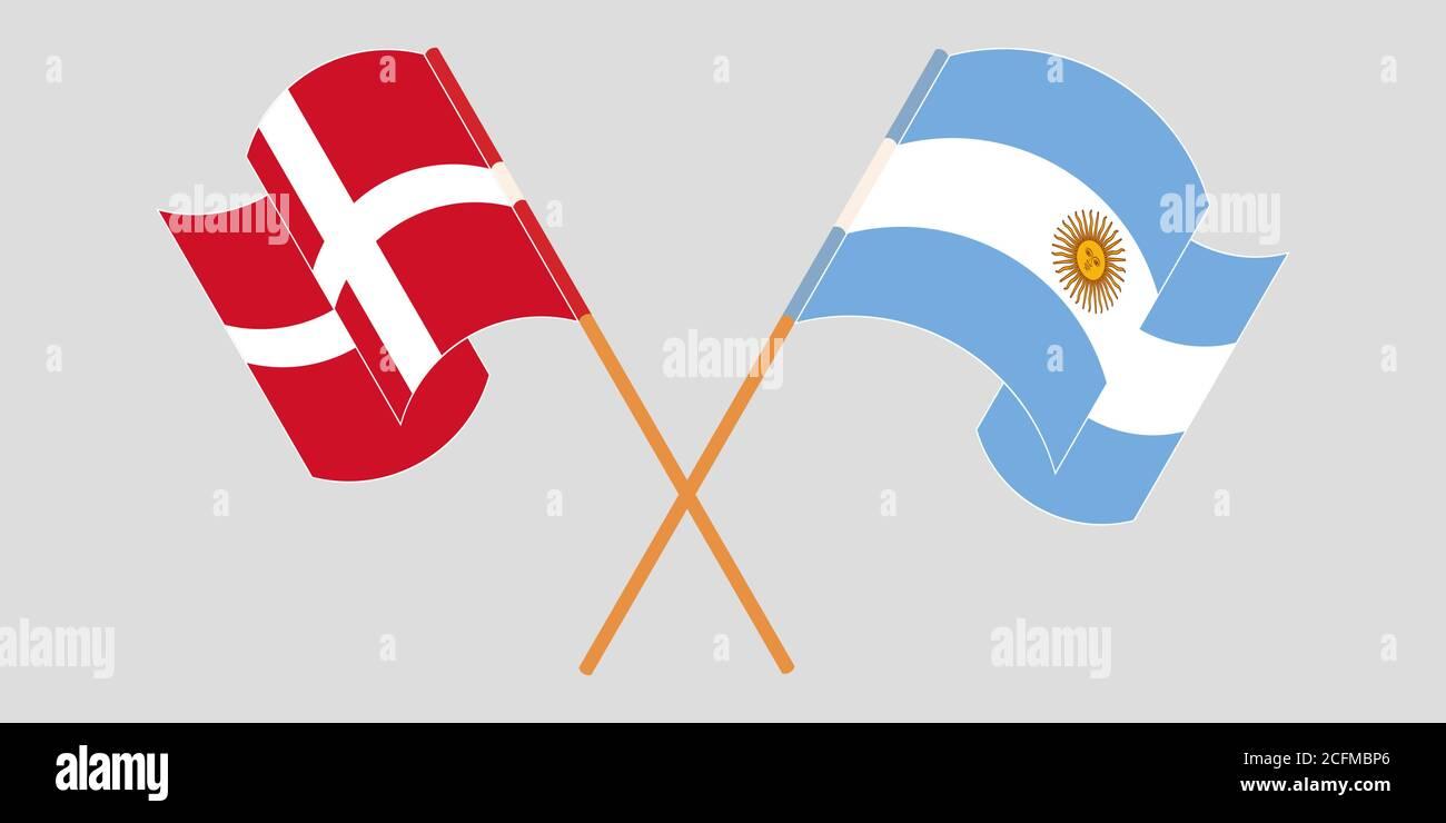 Gekreuzte und winkende Flaggen von Argentinien und Dänemark. Vektorgrafik Stock Vektor