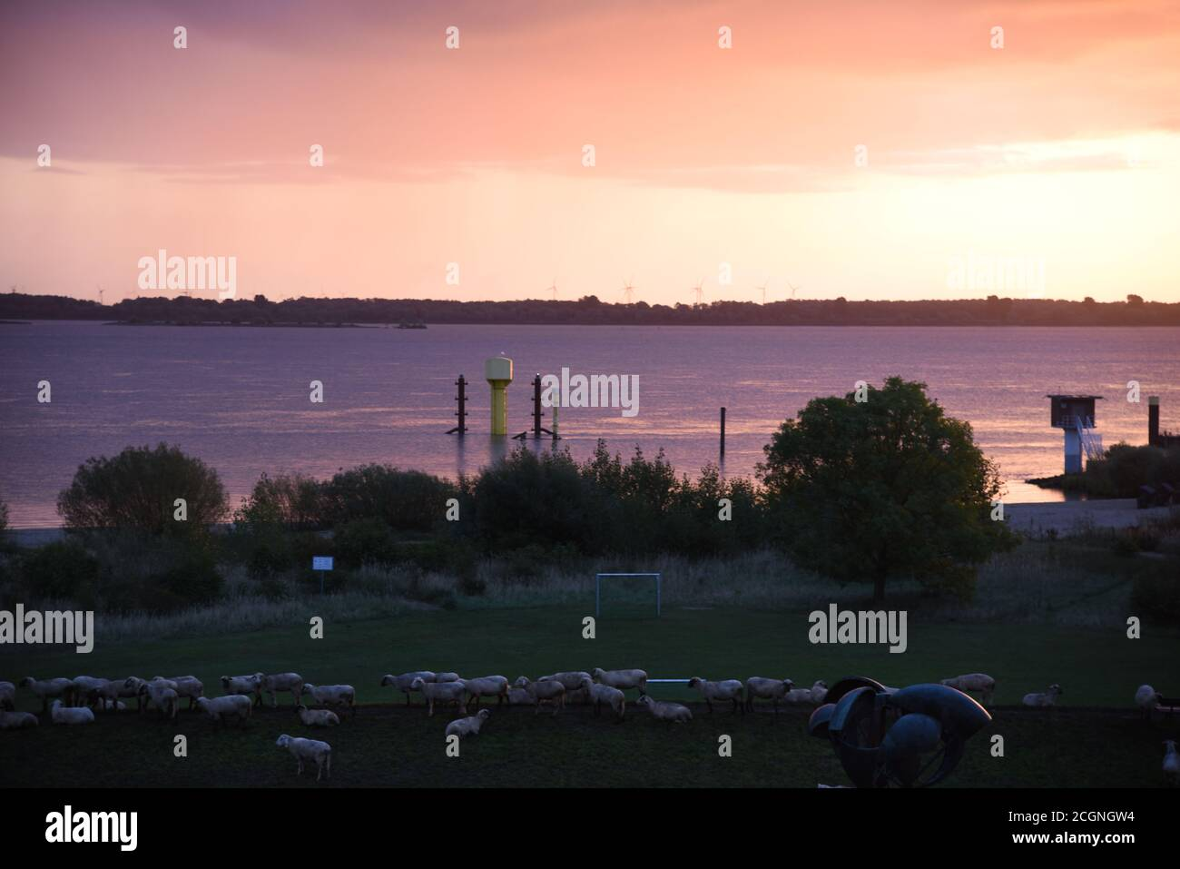Schöne Wetteratmosphäre in Krautsand Stockfoto