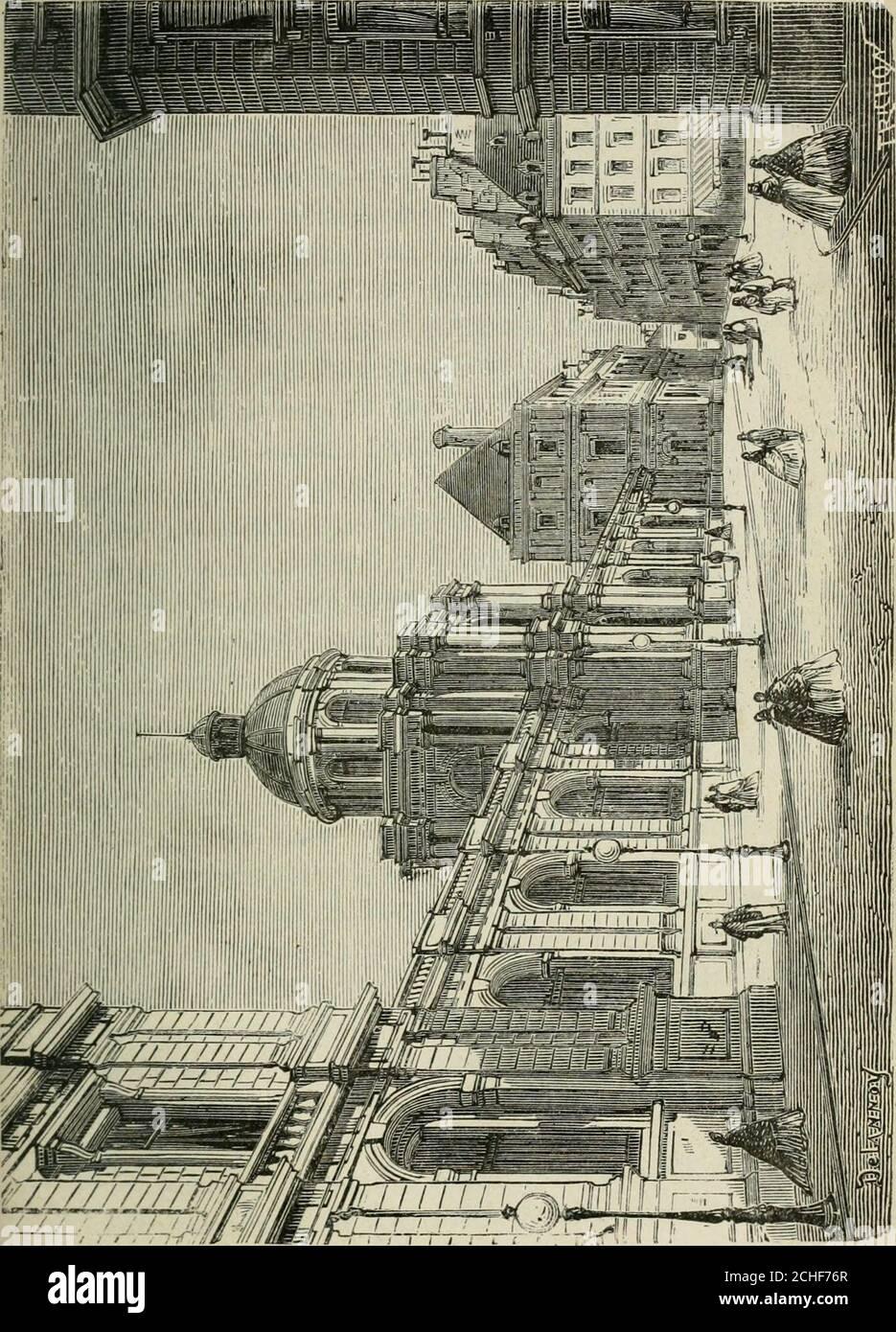 . Les merveilles du nouveau Paris-- . -Royal. Louis XIV le Donna plustard au duc dOrléans, son frère, et depuis cette époque il aété lapanage des Princes du sang. UN incendie détruisit lafaçade en 1763; Louis-Philippe dOrléans, Petit-fils durégent, chargea Moreau de le reconstruire entièrement. Ilfit aussi élever autour du jardrn ces magnifiques galeries oùlindustrie parisienne étale ses plus belles productions dor-fèvrerie et de bijouterie. Les vieux marronniers de Richelieutombaient pour faire place à ces constructions. La façadedonnant sur le jardin devait être édifiée sur un Plan gran-dios Stockfoto