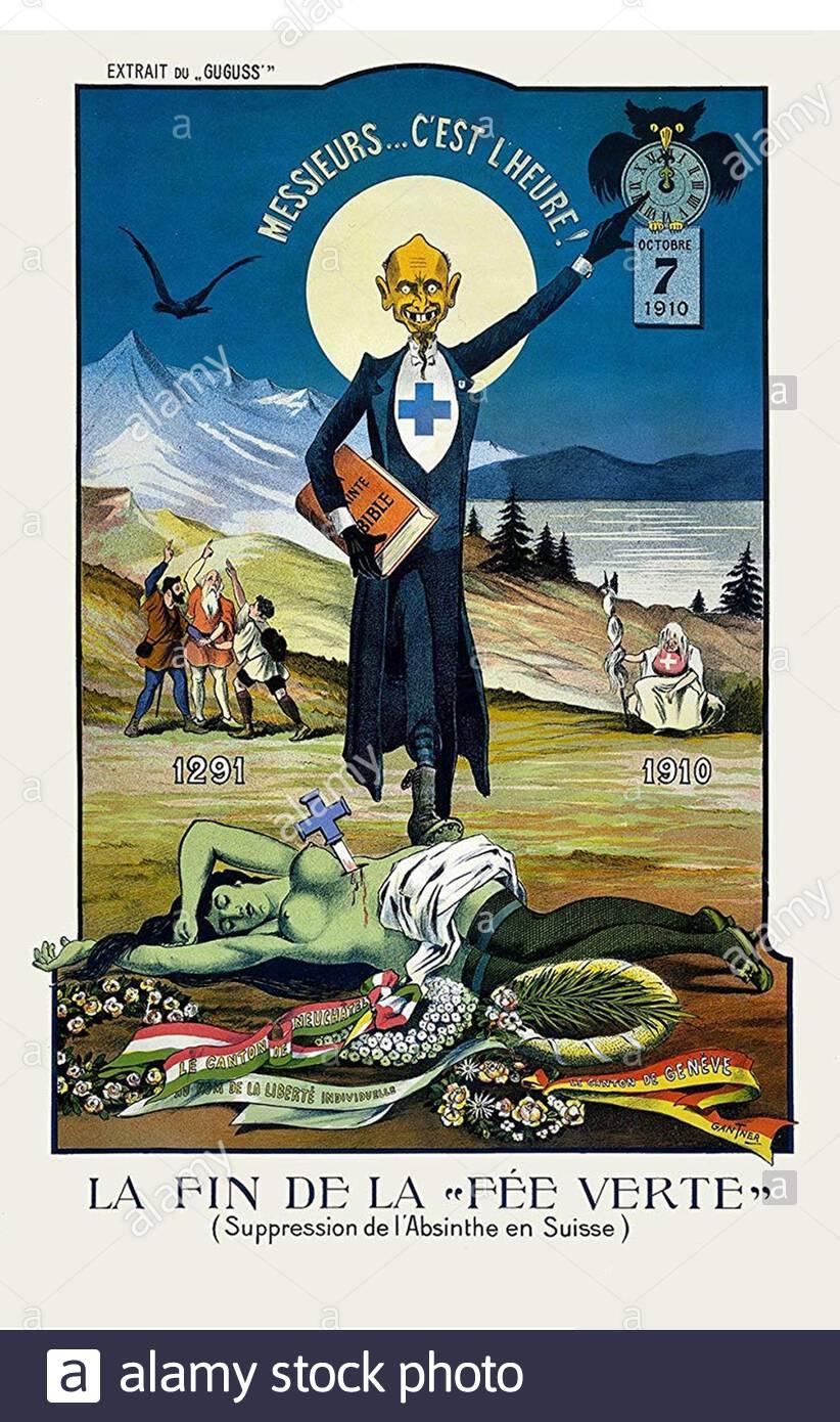 Vintage Anti-Alkohol Poster - der Tod der Grünen Fee Stockfoto