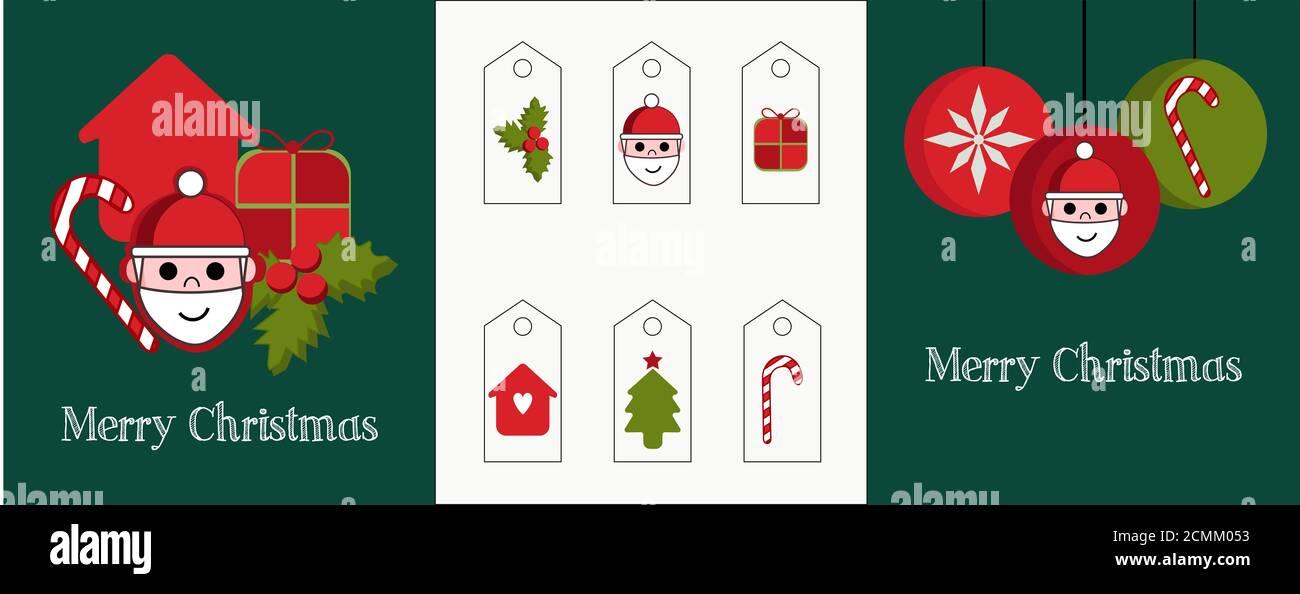 Illustration eines Sets von zwei Karten und verschiedenen Tags für die Geschenke. Rote und grüne Grafiken mit Weihnachtsmann, Kugeln, Kerzen, Baum und Stechpalme weihnachten. Stockfoto