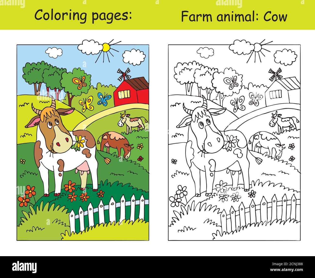 Malvorlagen mit niedlichen Kuh Gracing auf der Farm Wiese. Cartoon Vektorgrafik. Färbung und farbige Bild der Kuh. Stock Illustration für Design Stock Vektor