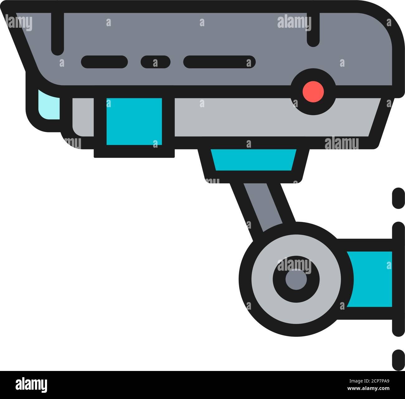 Sicherheitskamera, CCTV, Sicherheit Home Schutz System flache Farblinie Symbol. Stock Vektor