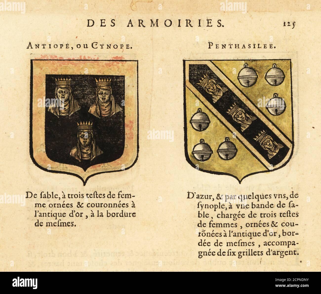 Imaginäre Wappen der Königinnen der Amazonen Antiope mit drei gekrönten Frauenköpfen und Penthesilea mit drei gekrönten Frauenköpfen und sechs silbernen Glocken. Neun Würdige Frauen. ANTIOPE OU CYNOPE, PENTHASILEE. Handkolorierter Holzschnitt aus Hierosme de Bara's Le Blason des Armoiries, Chez Rolet Bouton, Paris, 1628 Stockfoto