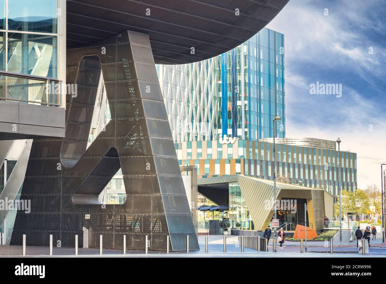 2. November 2018: Salford Quays, Manchester, Großbritannien - The Lowry, The Gallery and Museum Complex Celebrating the Life of L__LW_AT__S. Lowry. Es wurde von Jam entworfen Stockfoto