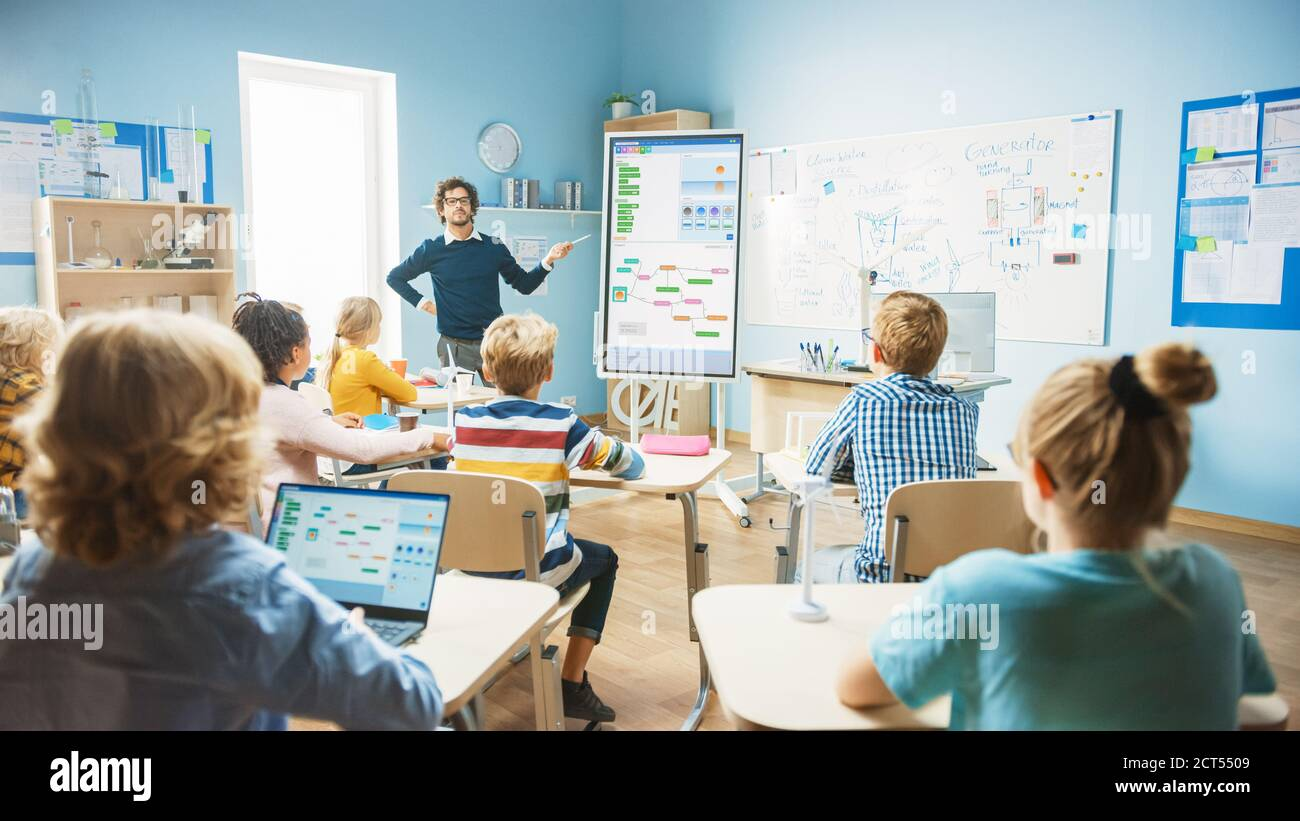 Grundschulinformatik-Lehrer verwendet interaktive digitale Whiteboard zu Zeigen Sie Programmierlogiken zu einem Klassenzimmer voller Smart Diverse Stockfoto