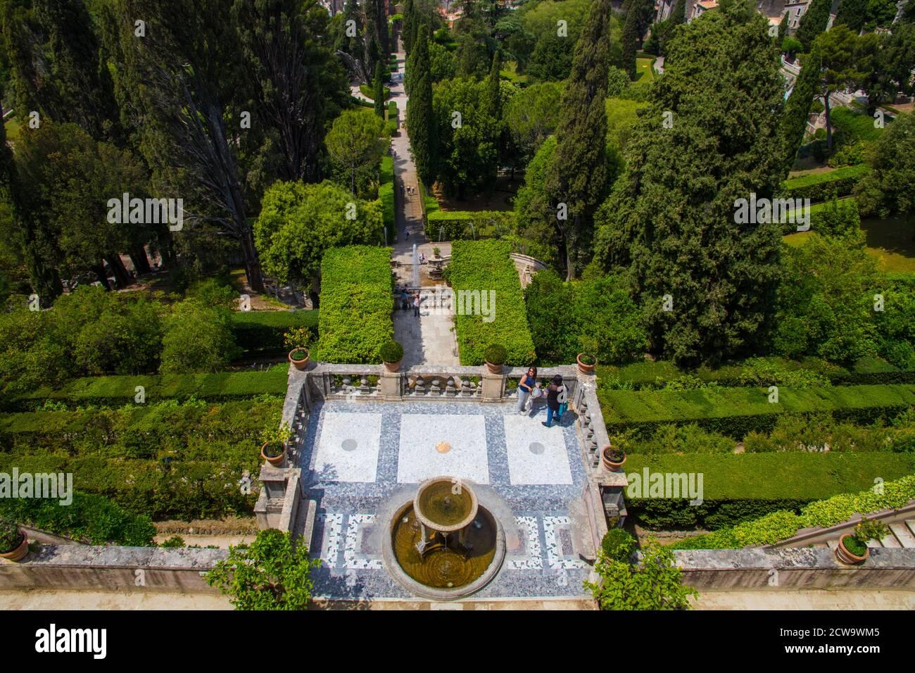 Brunnen und Gärten in der Villa D'Este in Latium Italien Stockfoto