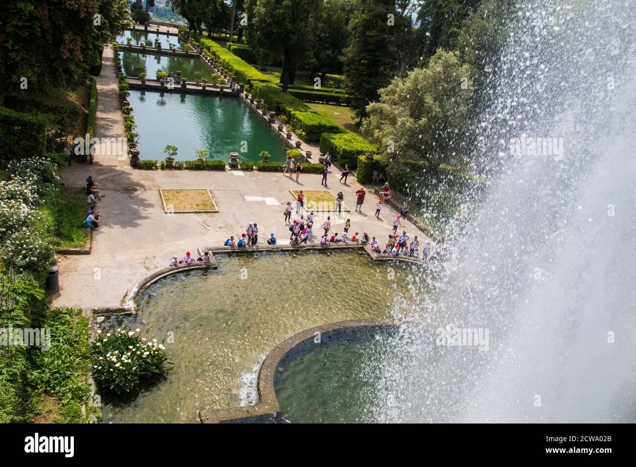 Brunnen und Gärten in der Villa D'Este Lazio Italien Stockfoto