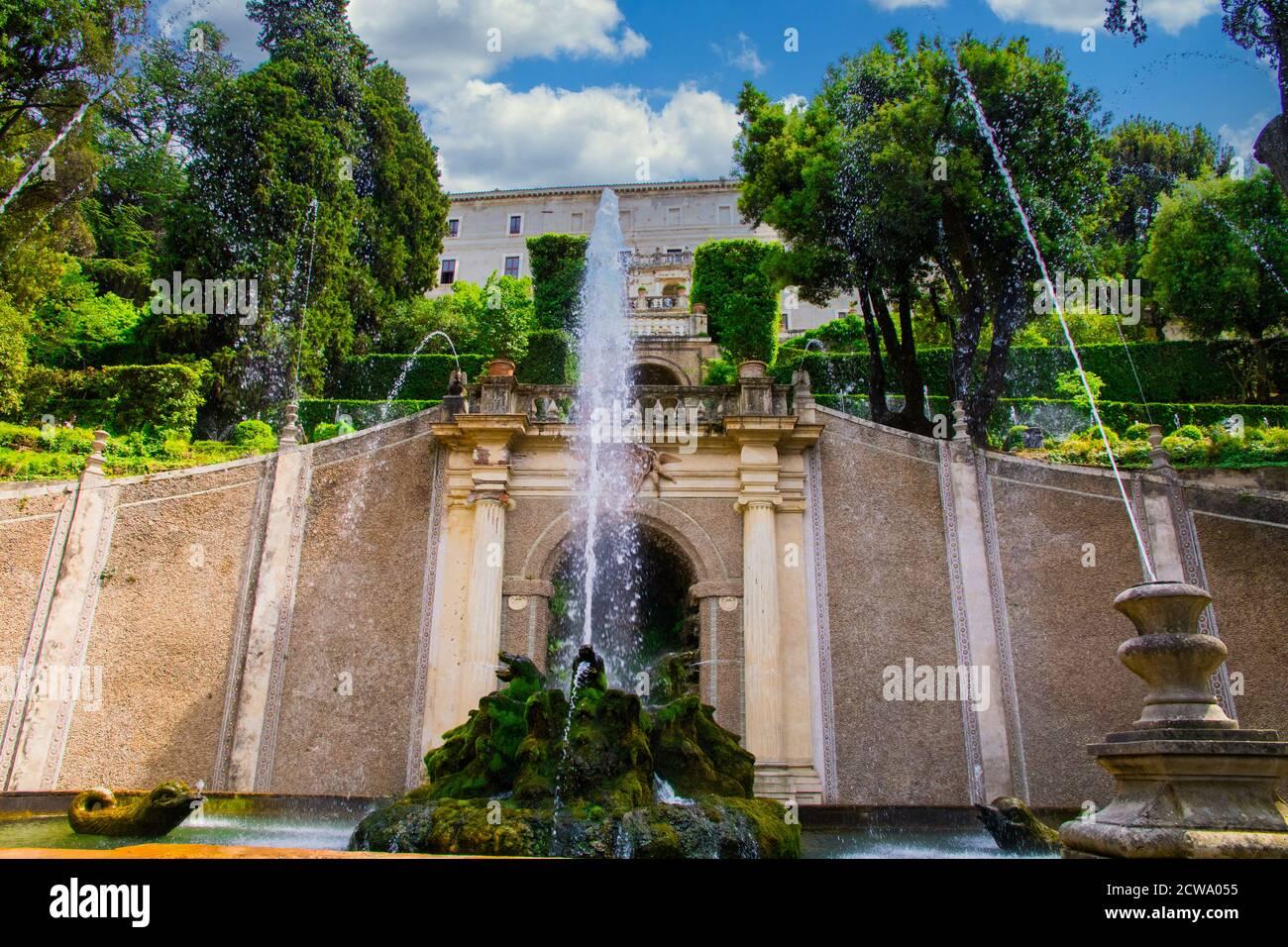 Brunnen in der Villa D'Este in Latium Italien Stockfoto
