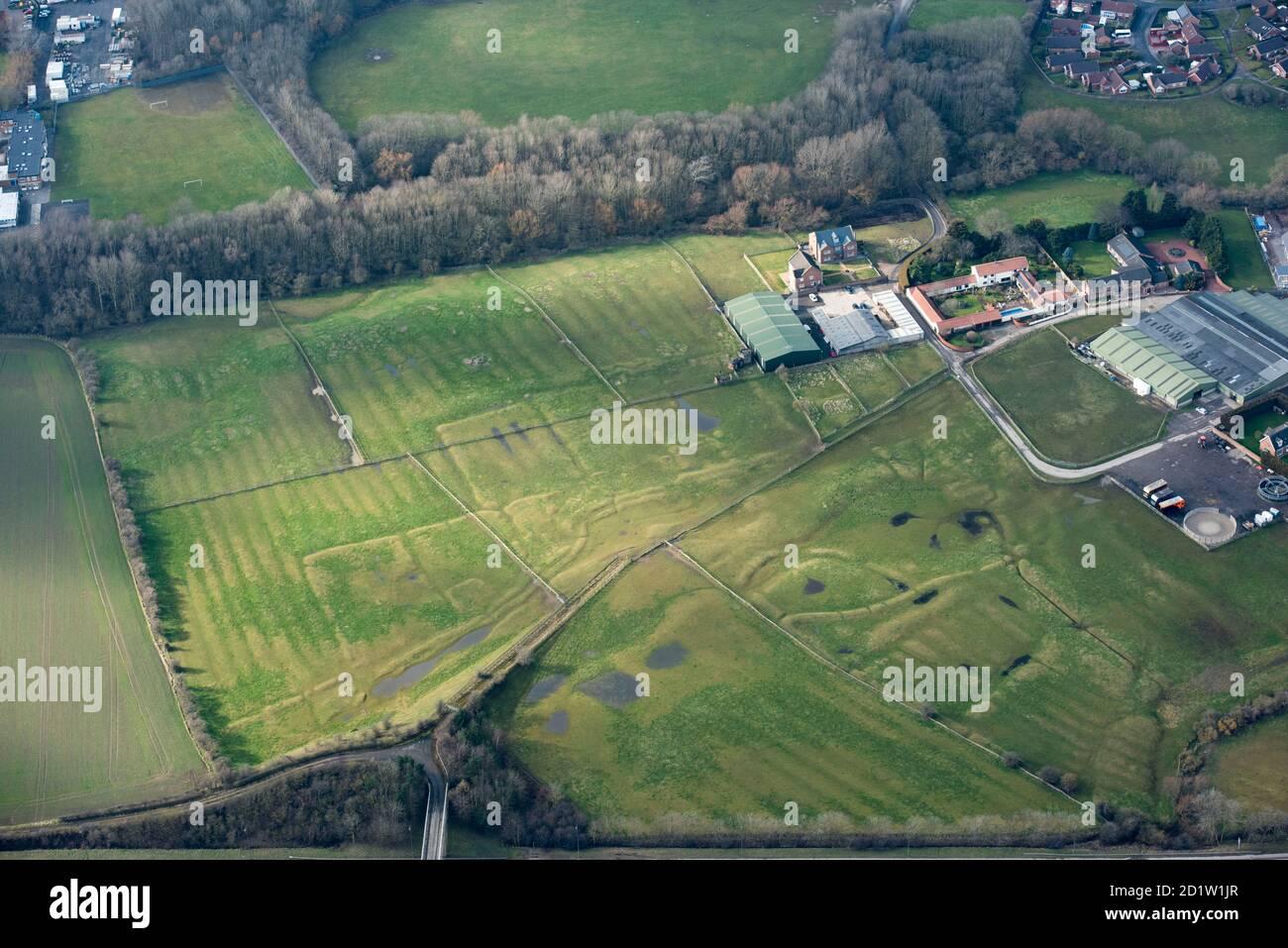 Stainsby mittelalterliches Dorf und offenes Feldsystem, Middlesborough und Stockton-on-Tees, Großbritannien. Luftaufnahme. Stockfoto