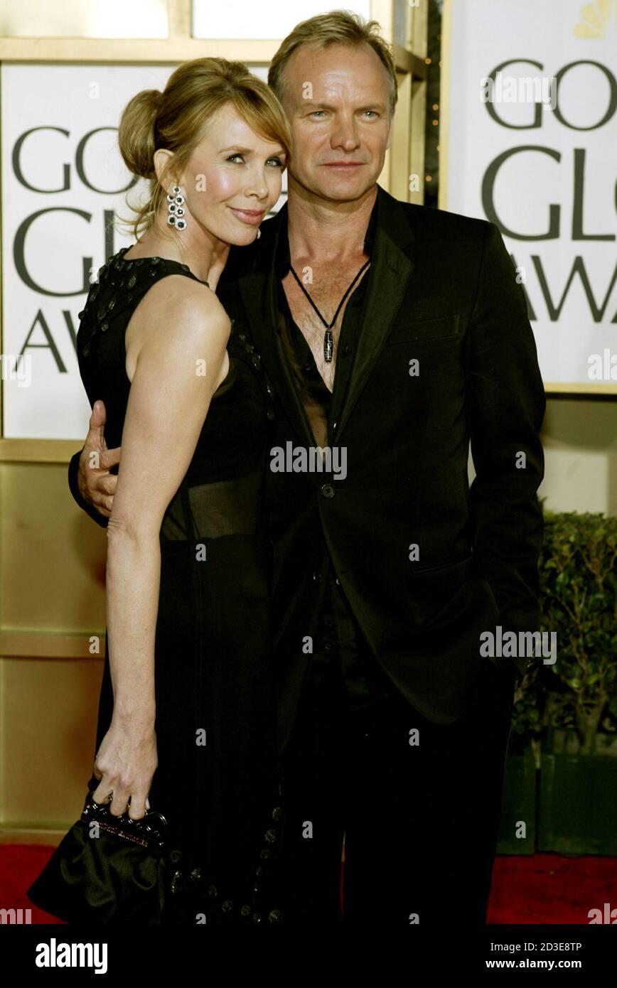 Sting und Frau Trudie Styler dar, da am 61. annual Golden Globe Awards in Beverly Hills, Kalifornien, 25. Januar 2004 eintreffen. Stockfoto
