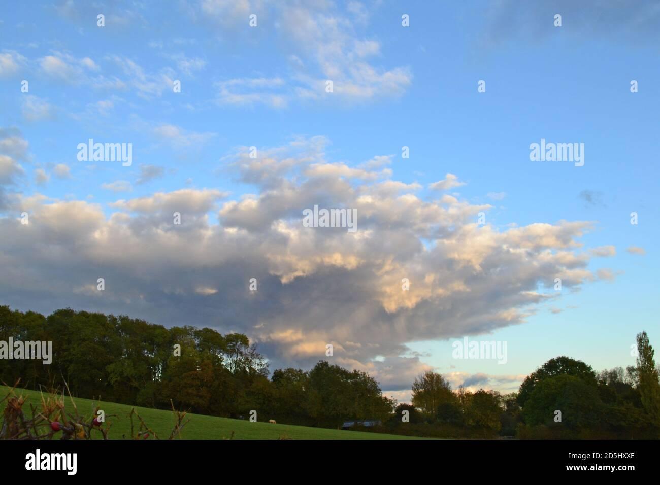 Weald of Kent Blick auf Greensand Ridge in der Nähe von Underriver, Sevenoaks, Oktober. Verfallende Duschwolken am Abend in einem blauen Himmel. Mammatuswolken gesehen Stockfoto