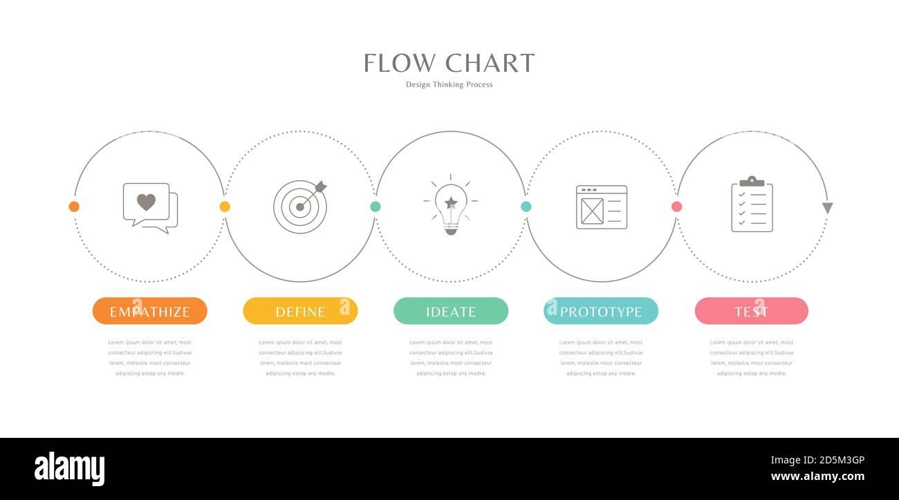 Flussdiagramm Infografik Vorlage, dünne Linie minimal Infografik ...