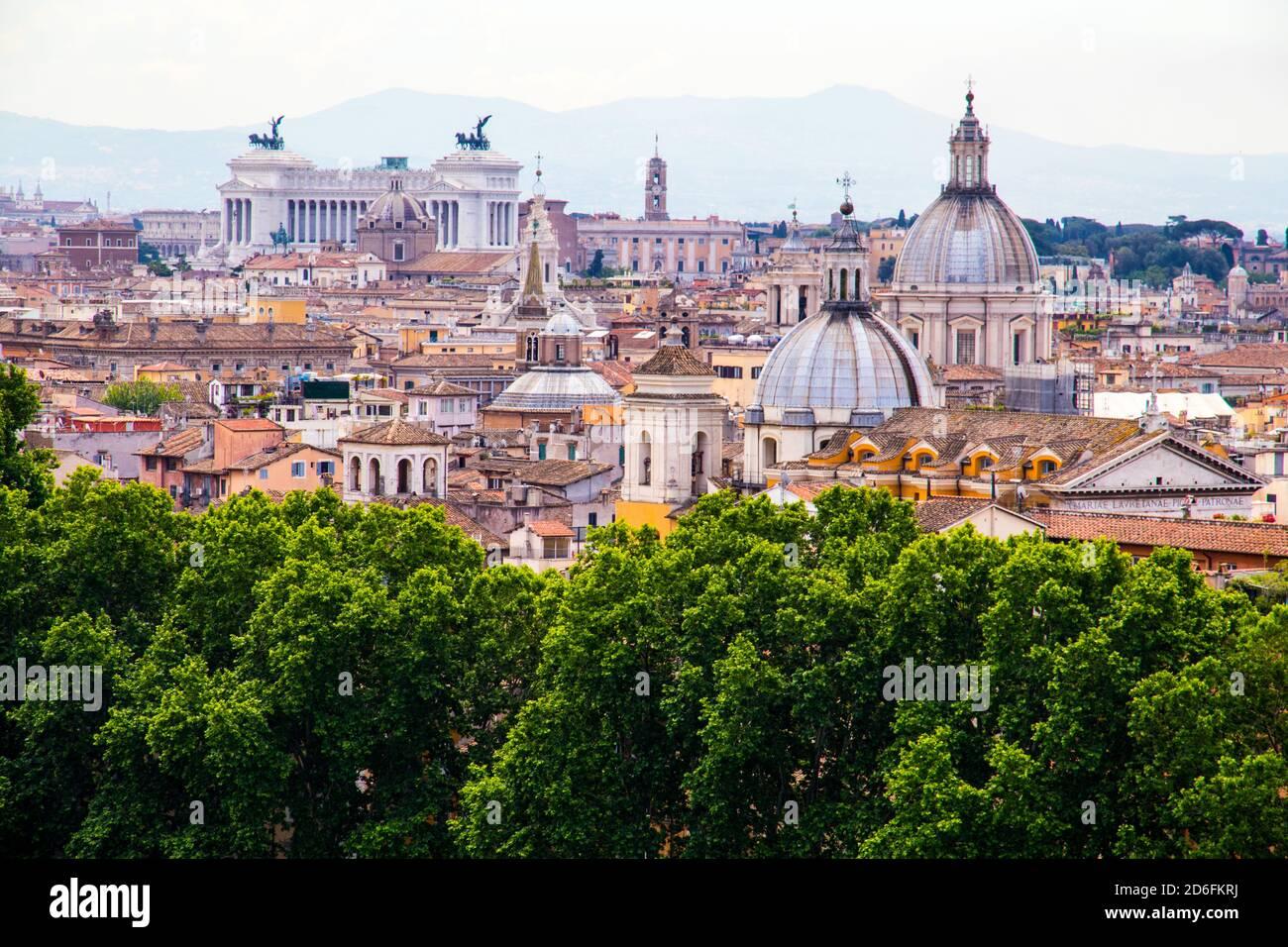 Die Dächer von Rom Italien Stockfoto