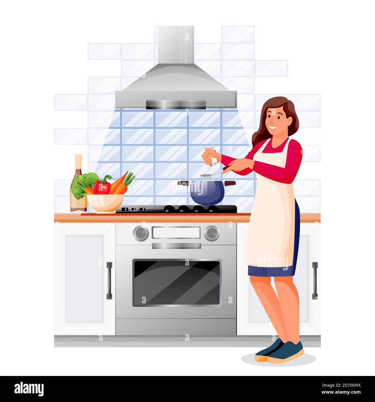 Glückliche Frau Kocht Gemüsesuppe In Der Küche Junges Mädchen In Schürze Macht Gesundes Mittag Oder Abendessen Vektorzeichen Hausmahlzeiten Rezepte L Stock Vektorgrafik Alamy