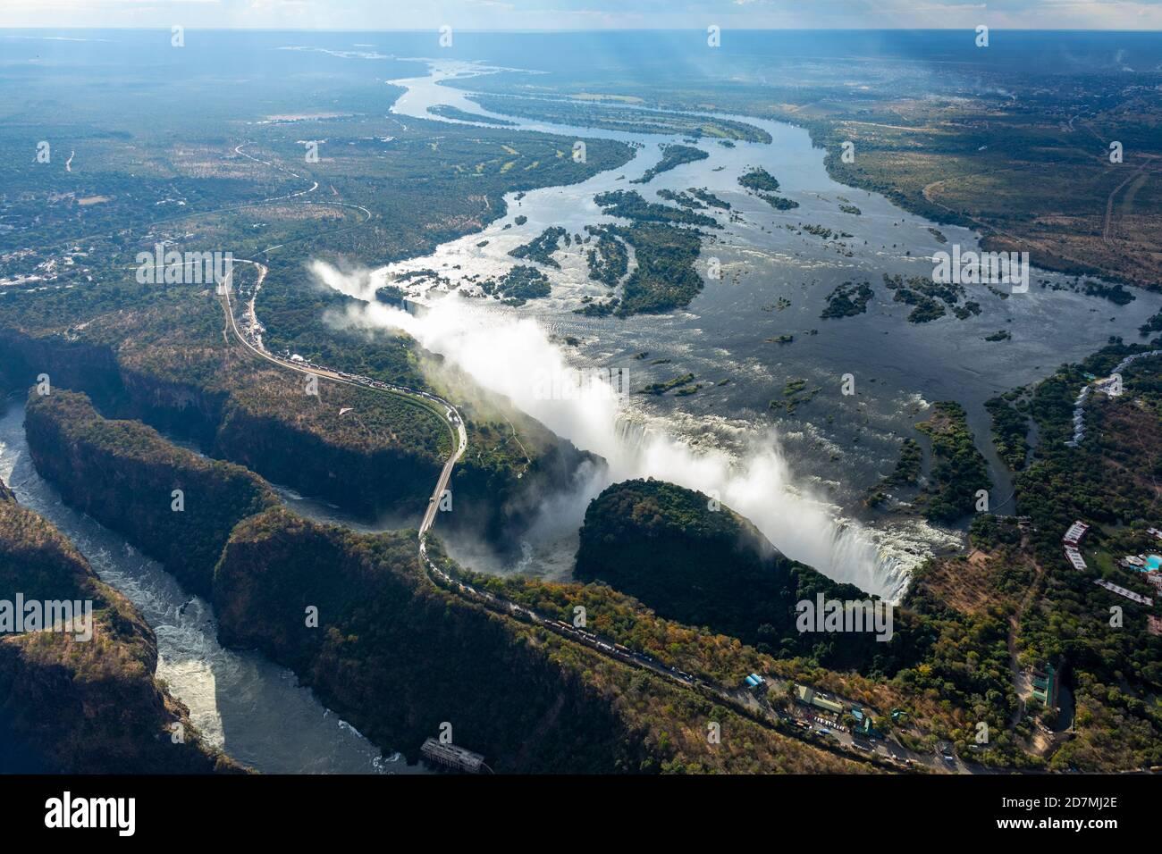 Blick auf die Victoria Falls in Simbabwe Stockfoto