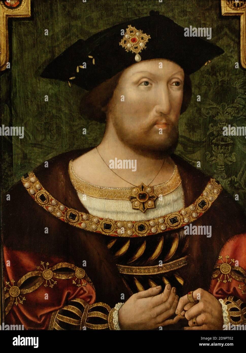 König Heinrich VIII. (1491-1547). König von England (1509-1547). Er ernannte sich als Leiter der Kirche in England an Stelle des Papstes in 1535. Porträt eines unbekannten anglo-niederländischen Künstlers. Es zeigt, wie der König einen Ring auf seine rechte Hand legt, ein Symbol seiner frommen Frömmigkeit. Dieses Gemälde ist eine Version eines vor-Holbein Porträt-Typ von Henry VIII.. Öl auf Platte (50,8 x 38,1 cm), c. 1520. National Portrait Gallery. London, England, Vereinigtes Königreich. Stockfoto