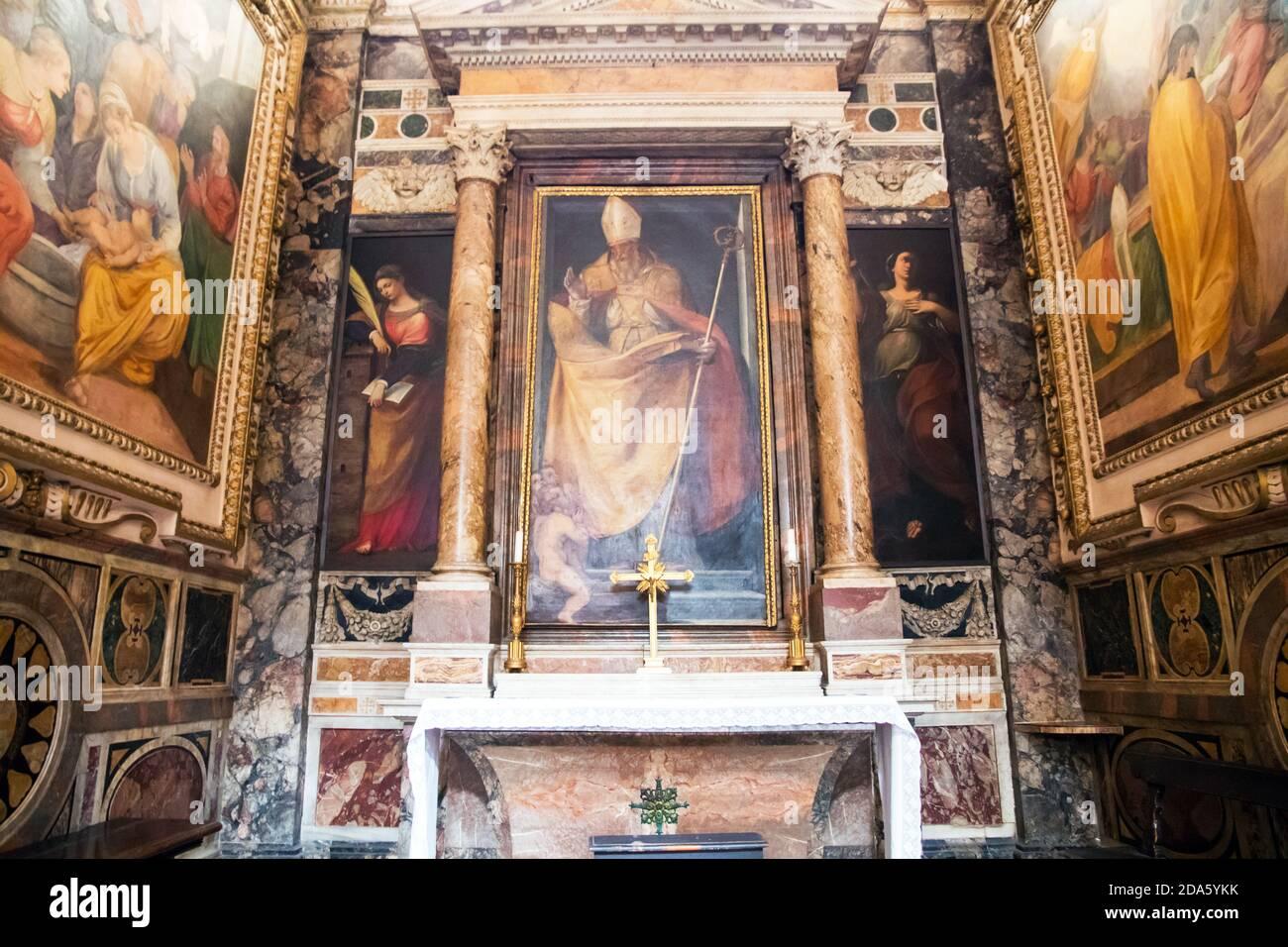 Kapelle des Heiligen Nikolaus in der Kirche des Heiligen Ludwig von Die Franzosen in Rom Italien Stockfoto