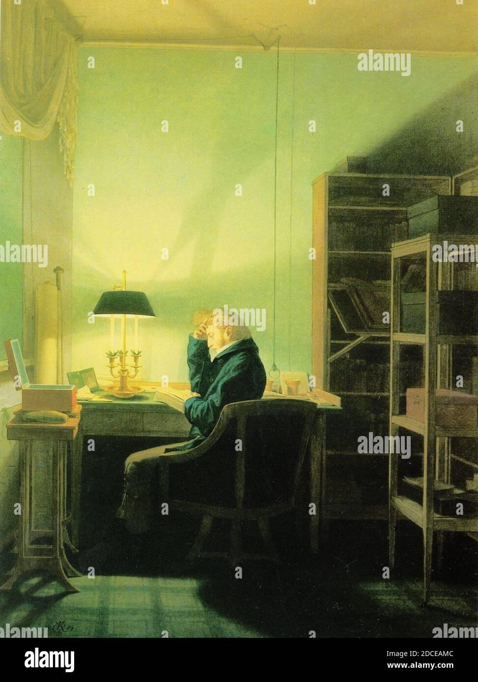 Kersting - Leser Mann beim Lampenlicht Stockfotografie - Alamy