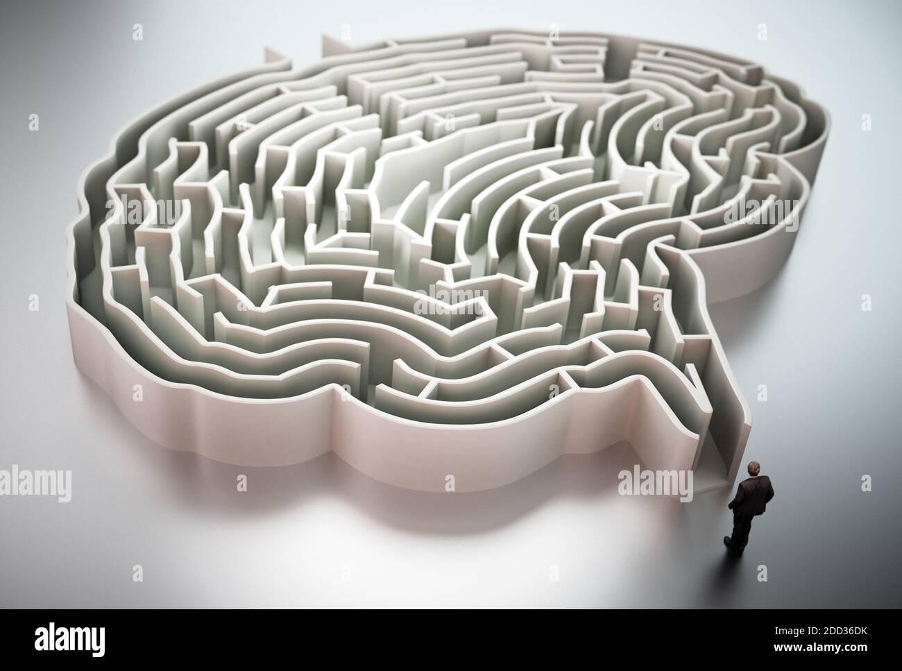 Geschäftsmann steht am Eingang des hirnförmigen Labyrinth 3D-Illustration. Stockfoto