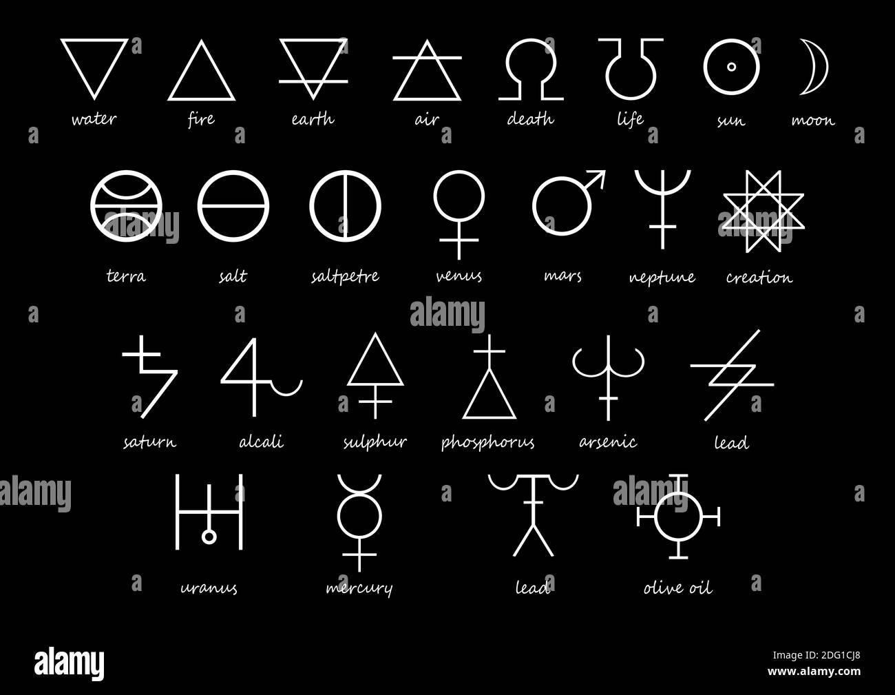 Alchemie Symbole in weiß auf schwarzem Hintergrund. Schwarz Weiß ...