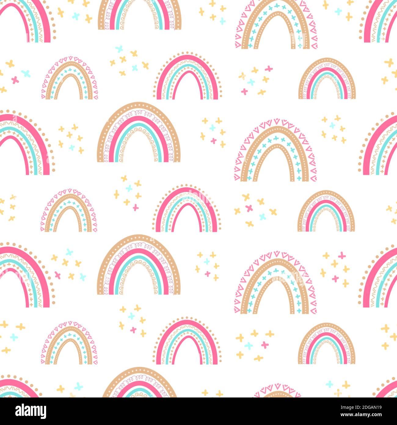 Nahtloses Baby-Muster mit handgezeichneten Regenbögen. Einfache Illustration auf einem isolierten Hintergrund. Kann für Verpackungen verwendet werden. Textilien, Schreibwaren und Klo Stock Vektor