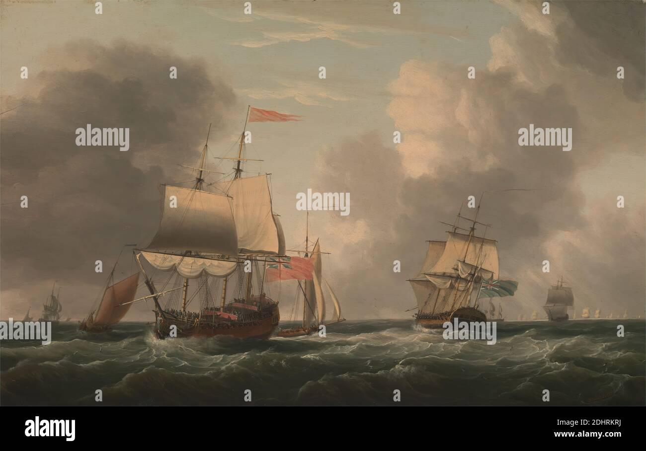 An English Two-Decker Lying Hove To, with other Ships and vessels in a Fresh Breeze, Dominic Serres RA, 1722–1793, French, Active in Britain (ab den 1750er Jahren), 1770, Oil on Panel, Support (PTG): 16 x 25 Zoll (40.6 x 63.5 cm), Brise, Wolken, Cutter (Segelschiff), Flaggen, Flotte, voll-Rigged Schiffe, Männer, Meer, Schiff der Linie, Schiffe, sloops (Segelschiffe), Wasser, Wellen (Naturereignisse), Wellen (Naturereignisse), Wind Stockfoto