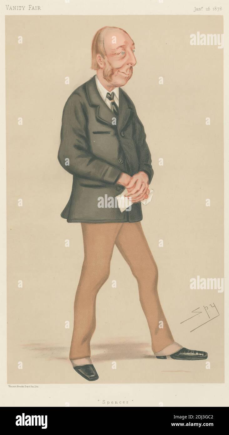 Vanity Fair: Theater; 'Spencer', The Hon. Spencer Cecil Brabazon Ponsonby-Fane, 26. Januar 1878, Leslie Matthew 'Spy' ward, 1851–1922, British, 1878, Chromolithographie Stockfoto