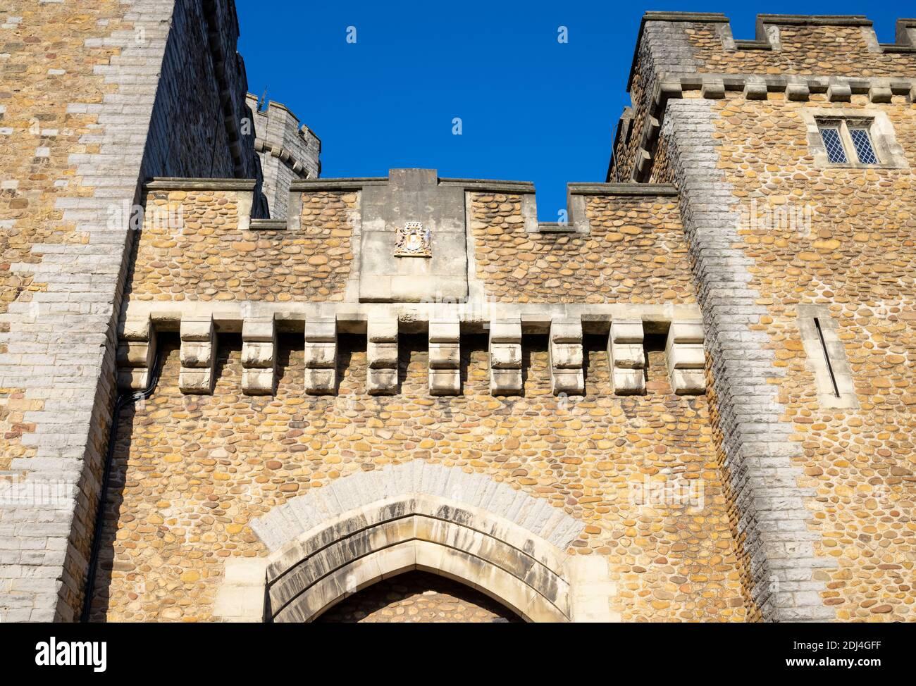 Detail über Cardiff Castle Südtor. Wales, Großbritannien Stockfoto