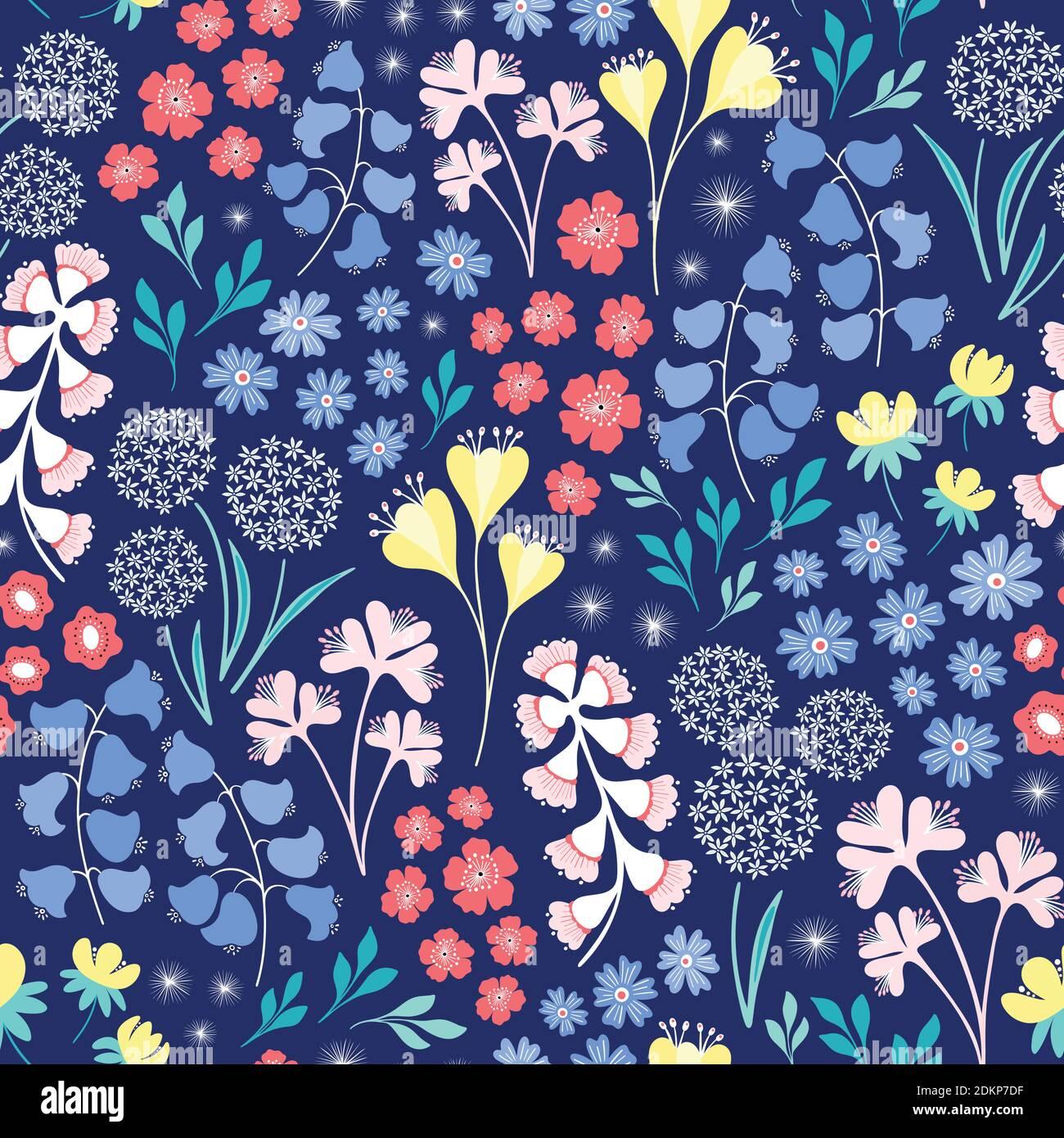 Florales Dessin. Hübsche nahtlose Wiederholung Design von milleur inspiriert Blumen. Vektorgrafik. Stock Vektor