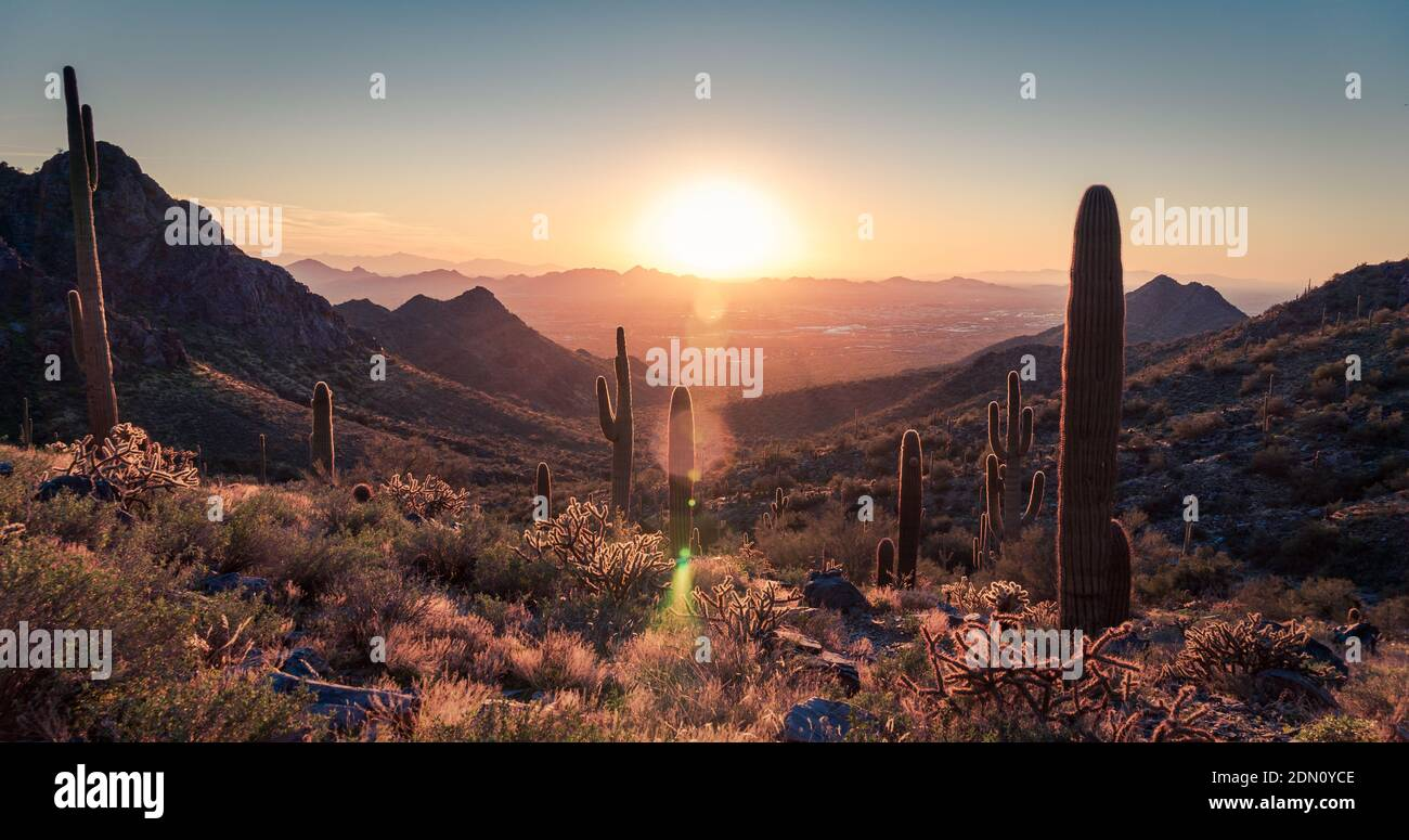 Szenischer Blick Auf Die Wüstenberge Gegen Den Himmel Bei Sonnenuntergang Stockfoto