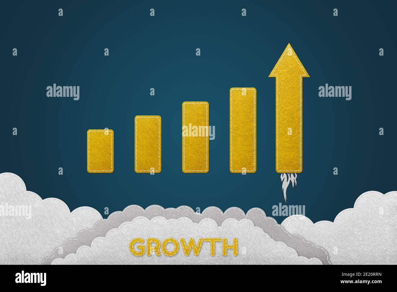 Wachstum Und Erfolgreiches Konzept - Genähter Filz-Effekt - Isoliert Auf Blauem Verlaufshintergrund Stockfoto