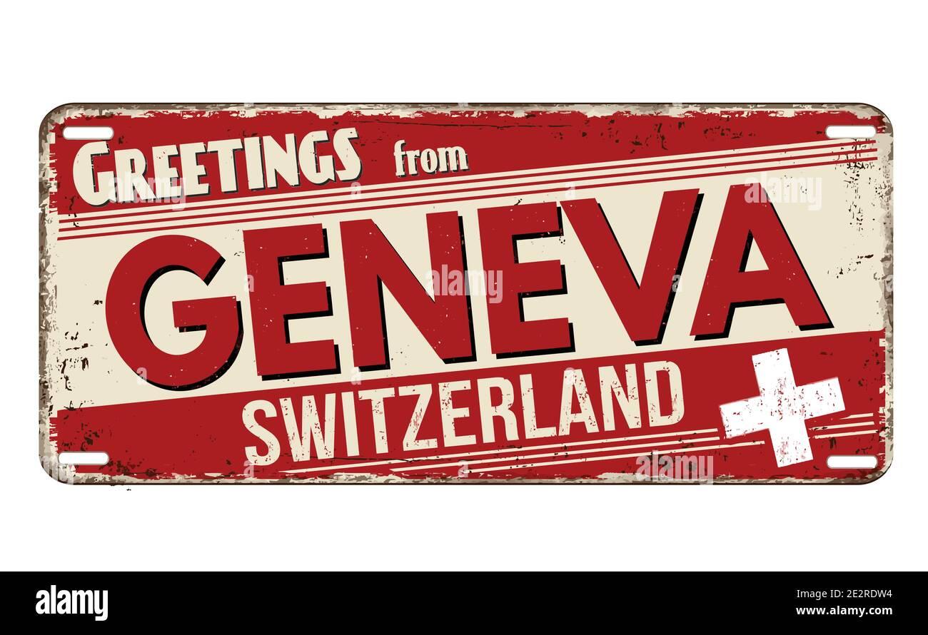 Grüße aus Genf vintage rostigen Metallplatte auf weißem Hintergrund, Vektor-Illustration Stock Vektor