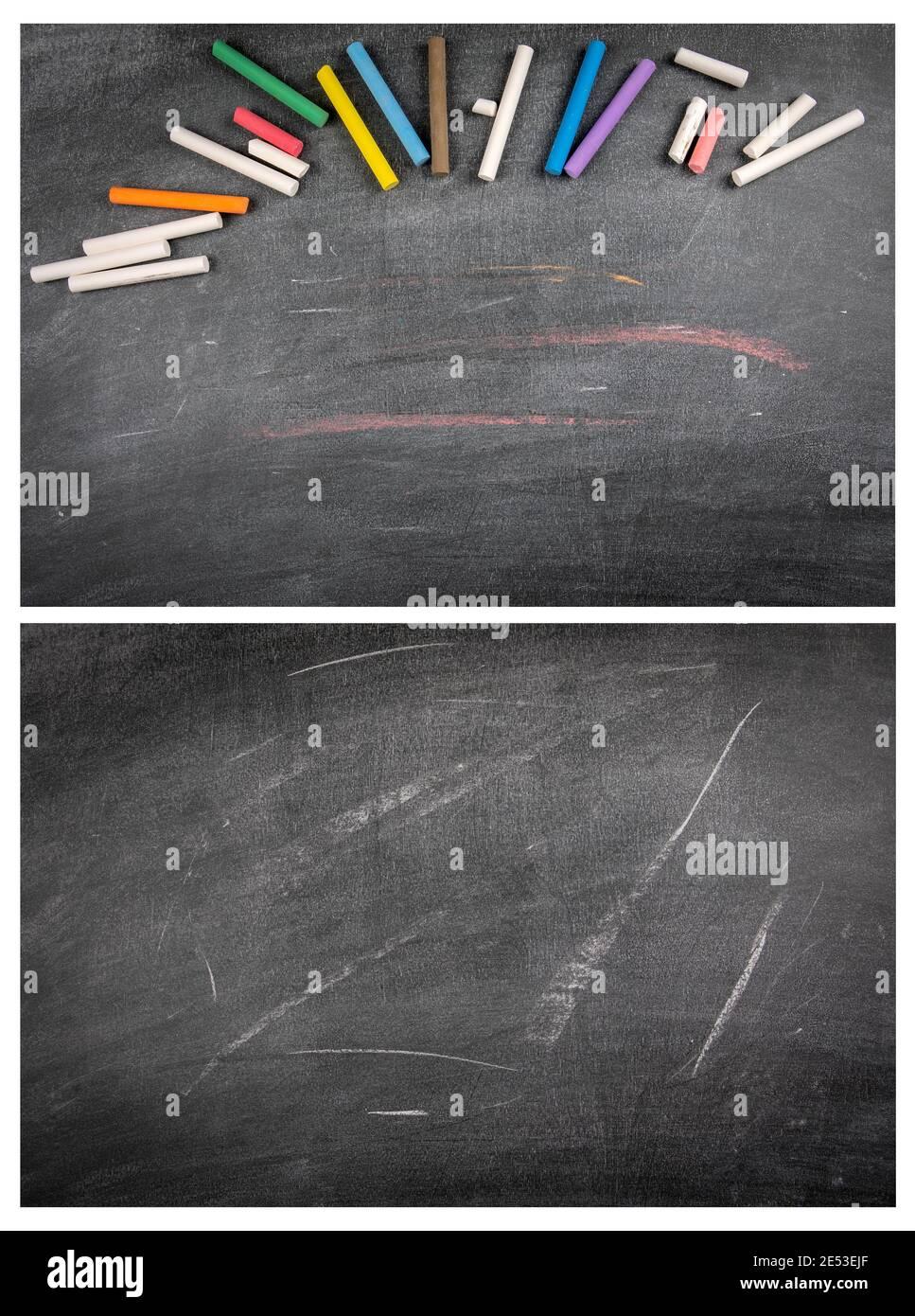Schwarze Kreidetafeln mit Kreidestücken. Kratzer und weiße Linien. Platz für Text und Zeichnungen, Mock up. Stockfoto