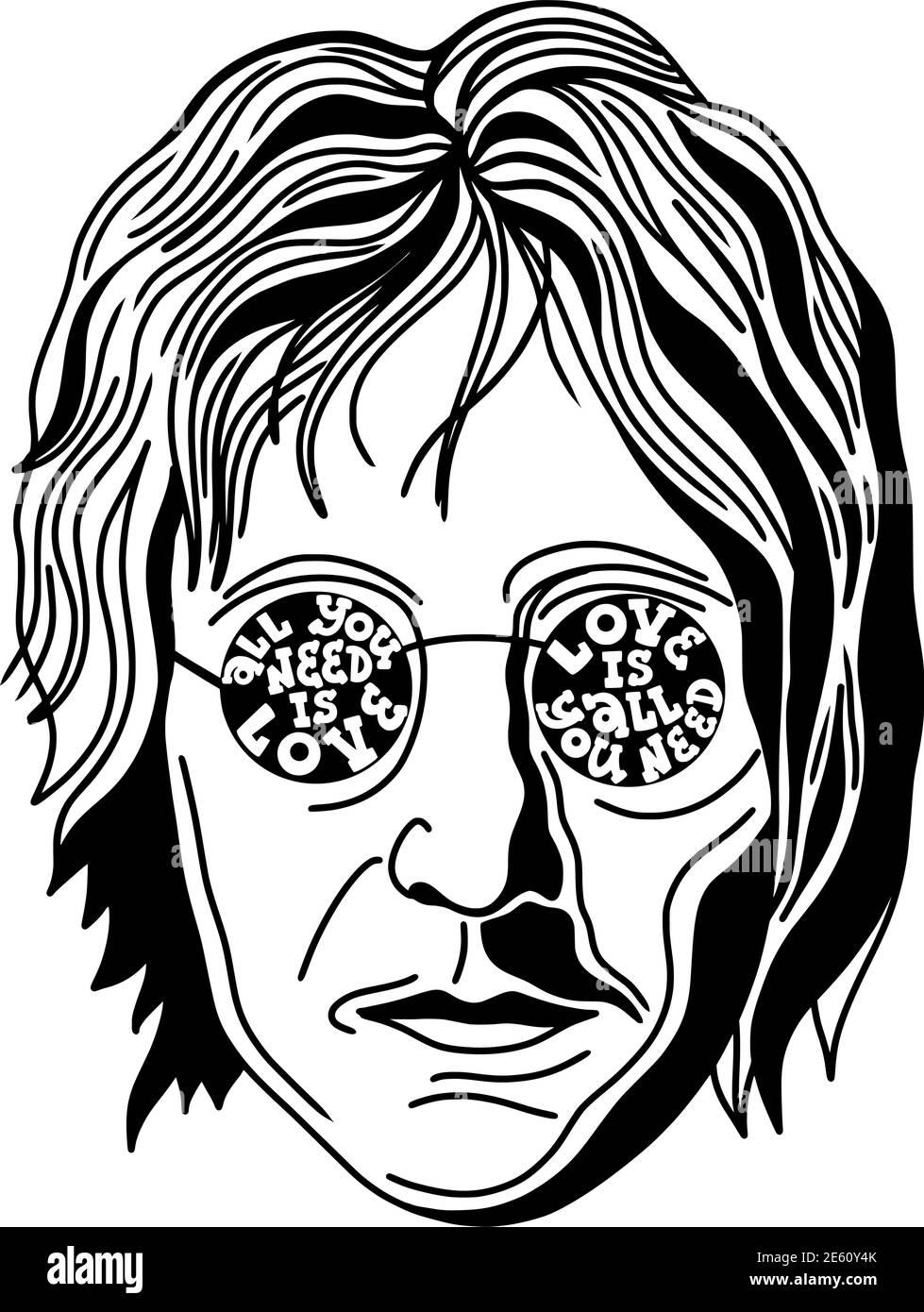 Porträt von john lennon mit Zitat alles, was Sie brauchen, ist Liebe Stock Vektor