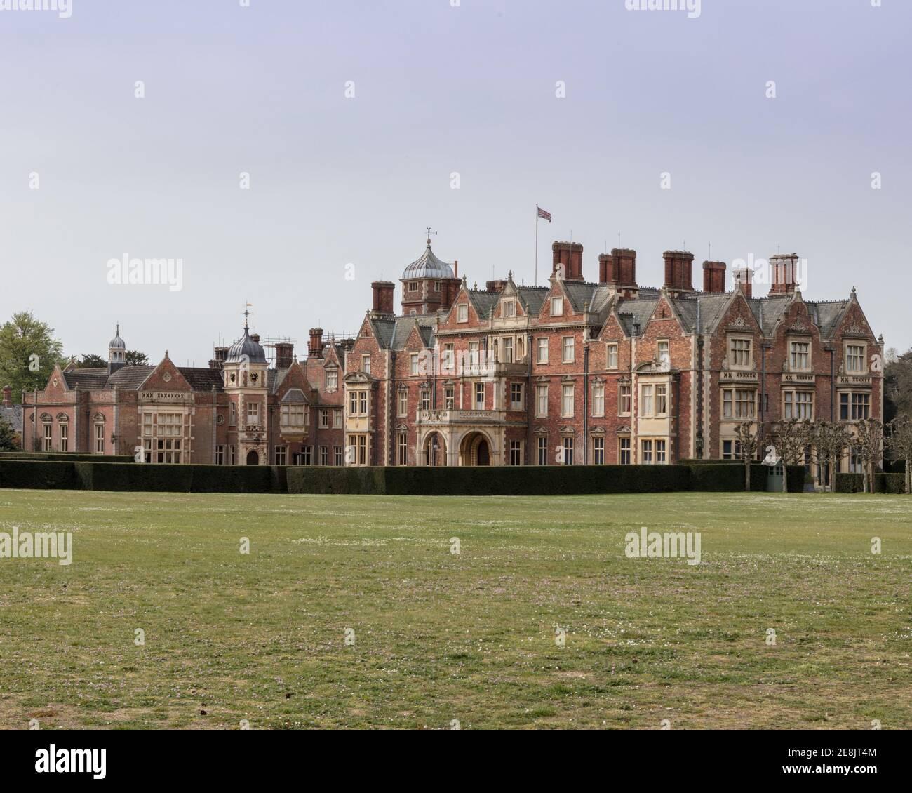 UK, Norfolk, Sandringham Estate, 2019, April, 23: Blick auf das Haus und Grundstück, Sandringham House, Queen Elizabeth II's Landsitz in Norfolk, Stockfoto