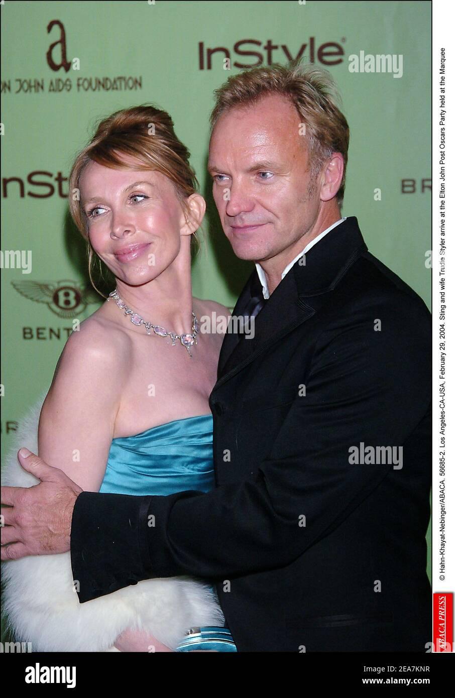 © Hahn-Khayat-Nebinger/ABACA. 56685-2. Los Angeles-CA-USA, 29. Februar 2004. Sting und Ehefrau Trudie Styler kommen bei der Elton John Post Oscars Party im Marquee an Stockfoto
