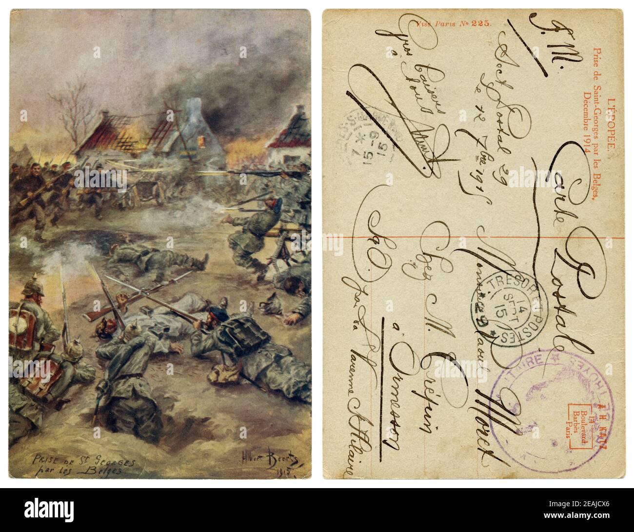 Französisch Historische Postkarte: Erfassung von Saint-Georges durch die Belgier. Der Angriff auf die Stadt von der Infanterie. Deutsche Truppen in der Verteidigung. Weltkrieg ein Stockfoto