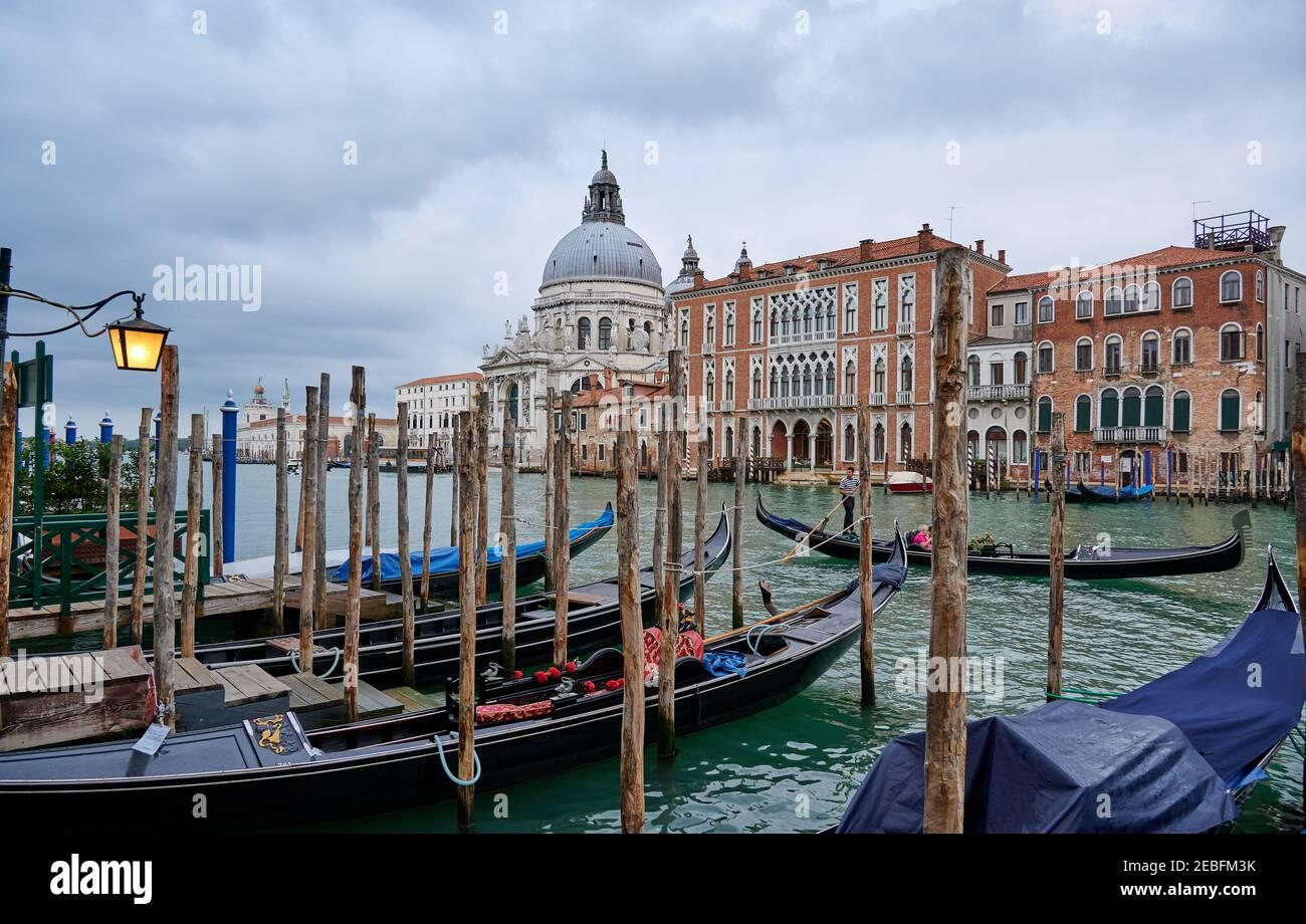 Gondeln mit der Basilika Santa Maria della Salute im Hintergrund, Venedig, Venetien, Italien Stockfoto