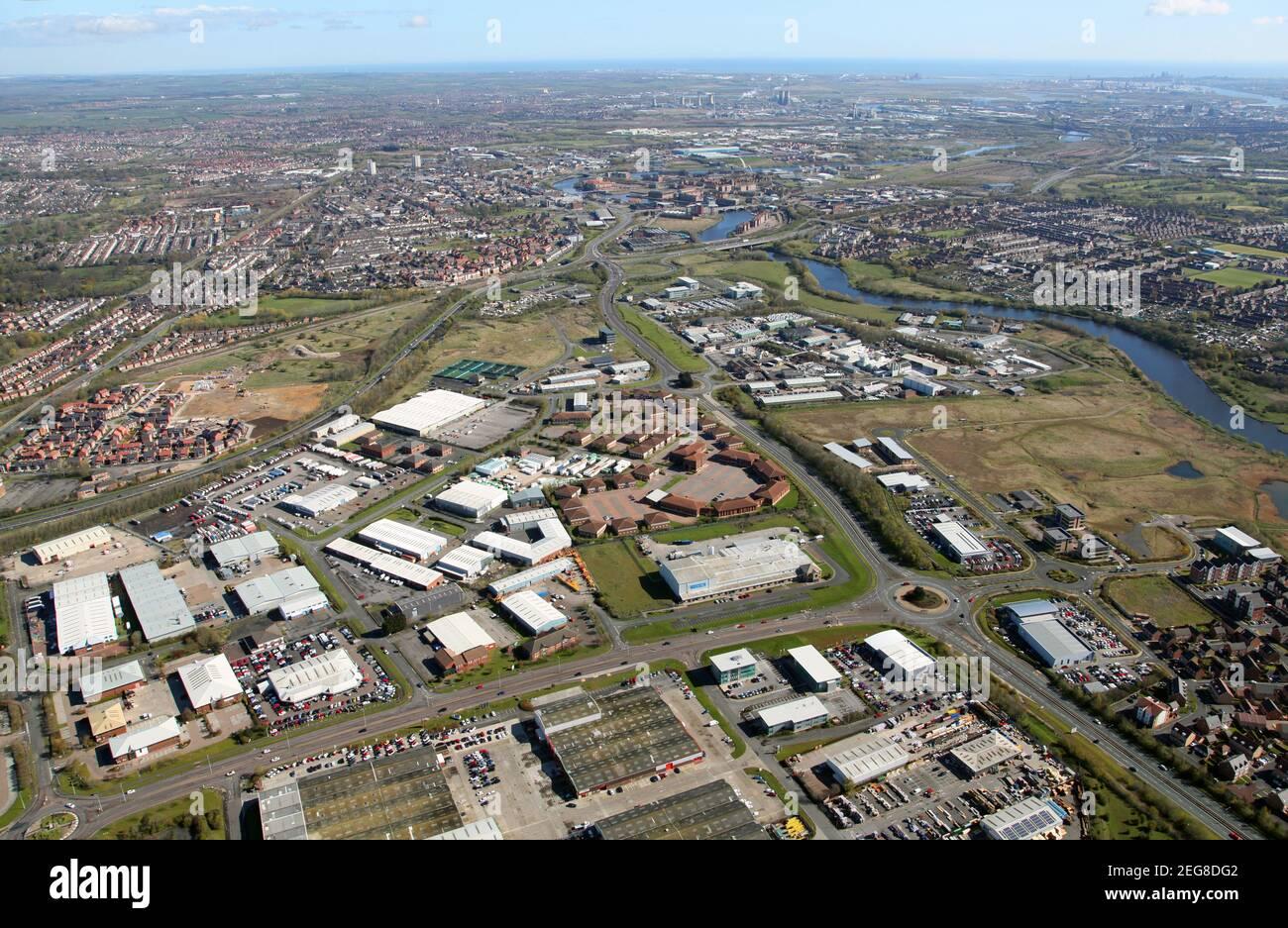Luftaufnahme des Preston Farm Business Park / Preston Farm Industrial Estate, Stockton-on-Tees Stockfoto