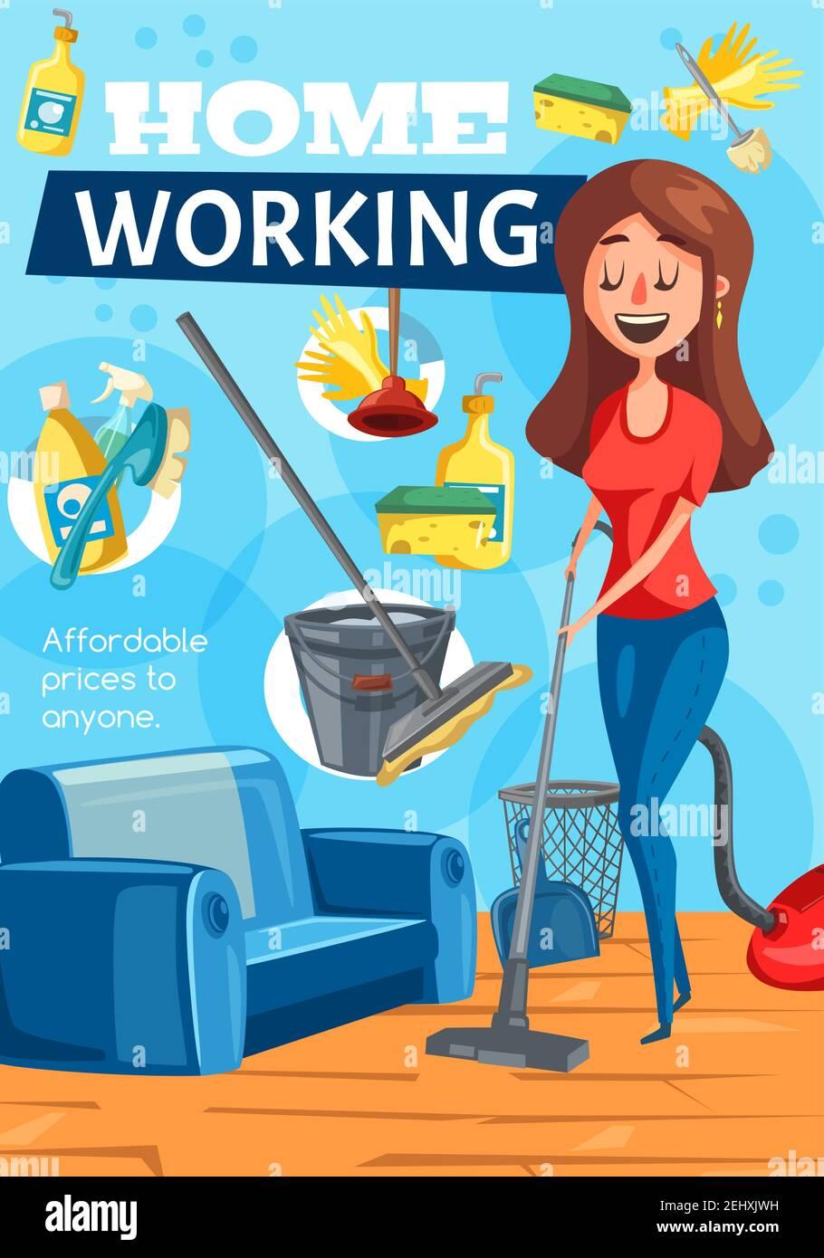 Hausfrau wischen, Frau Reiniger mit Mop Reinigung Hausarbeit ...
