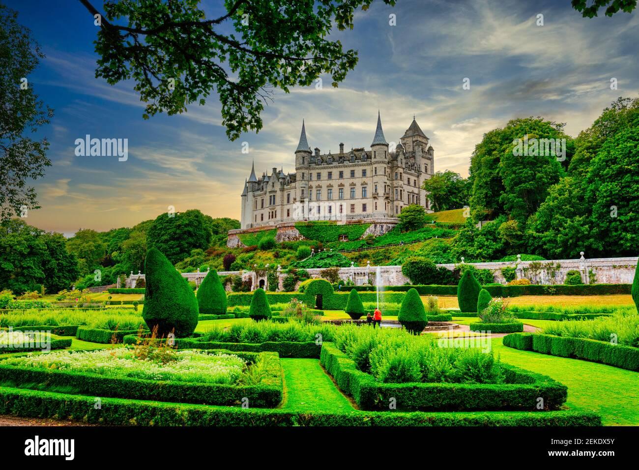 Dunrobin Castle. Familiensitz des Earl of Sutherland mit 189 Zimmern ist das größte große Haus in den nördlichen Highlands, Golspie, Schottland Stockfoto