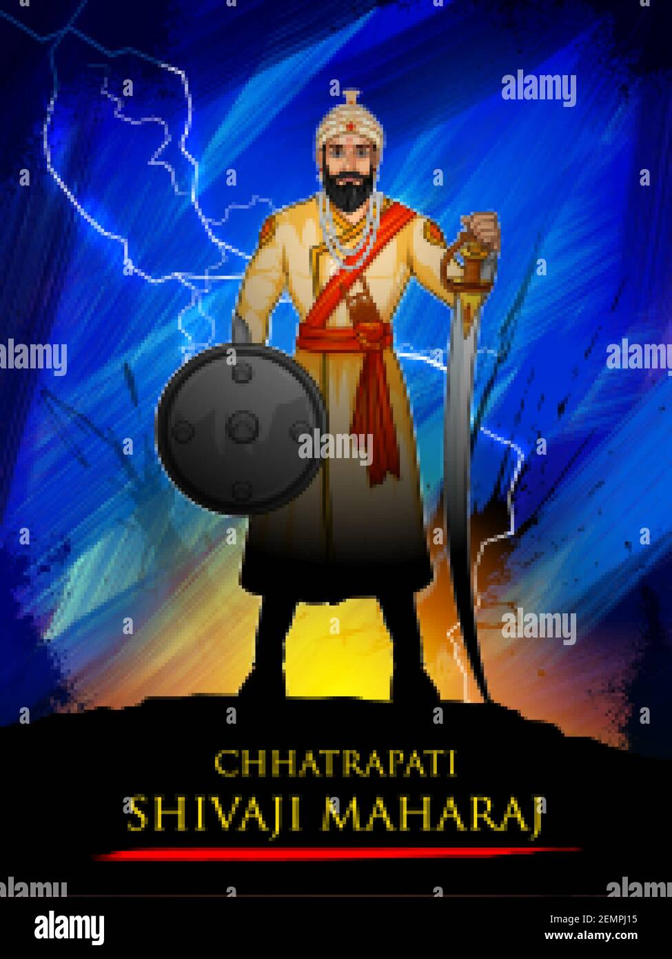Illustration von Chhatrapati Shivaji Maharaj, dem großen Krieger ...