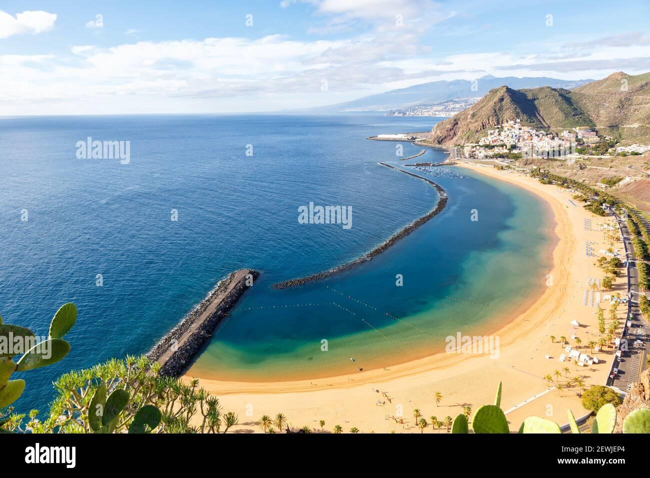 Kanarische Inseln Teneriffa Strand Teresitas Meer Reisen Atlantischer Ozean Natur. Stockfoto