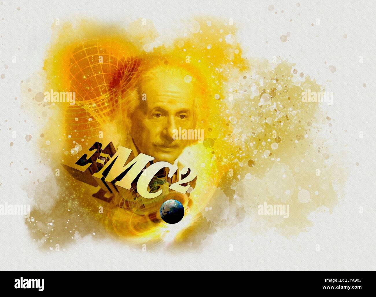 Einsteins Massenenergie-Gleichung, konzeptuelle Illustration Stockfoto