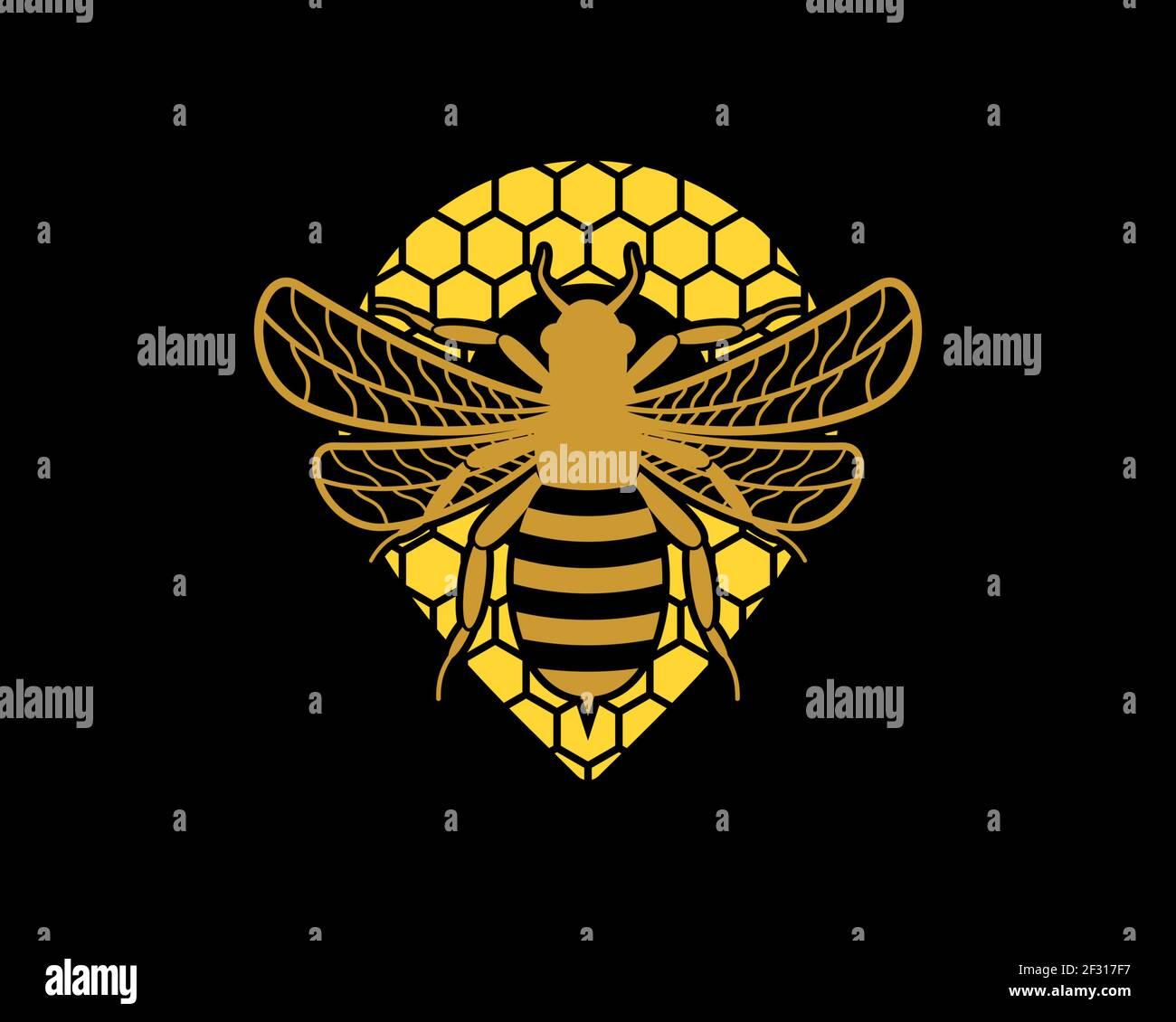 Fliegende Biene im Bienenstock mit Stecknadelform Stockfoto