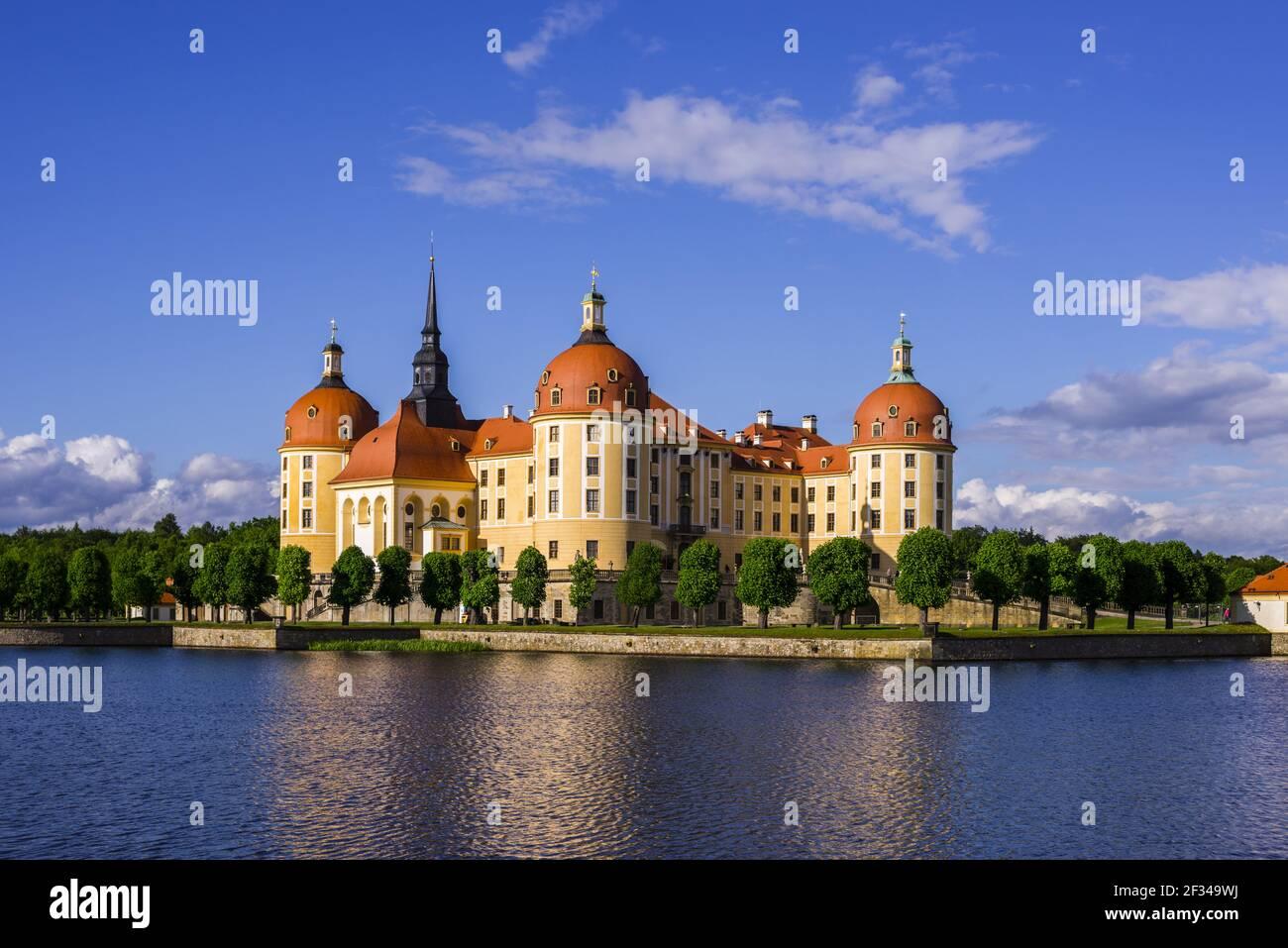 Geographie / Reisen, Deutschland, Sachsen, Schloss Moritzburg, Gemeinde Moritzburg in Dresden, Sachsen, Freedom-of-Panorama Stockfoto