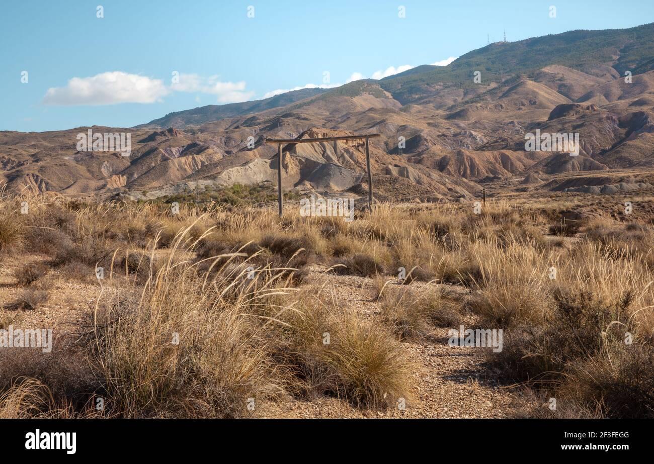 Tabernas Desert Film Drehort Almeria Spanien Natur Abenteuer Reisen Europa Stockfoto