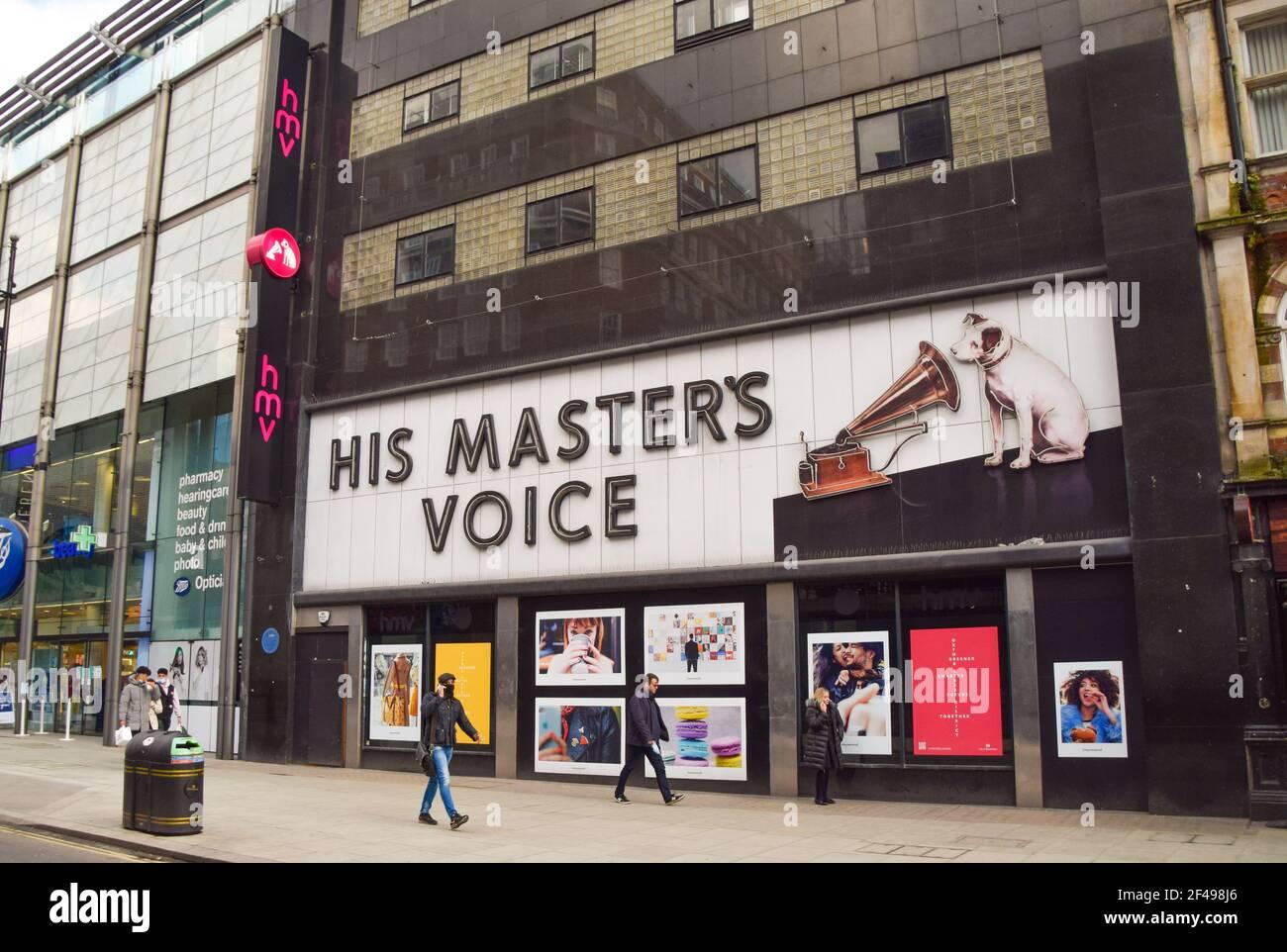 London, Großbritannien. 20th. März 20. Außenansicht des HMV ...